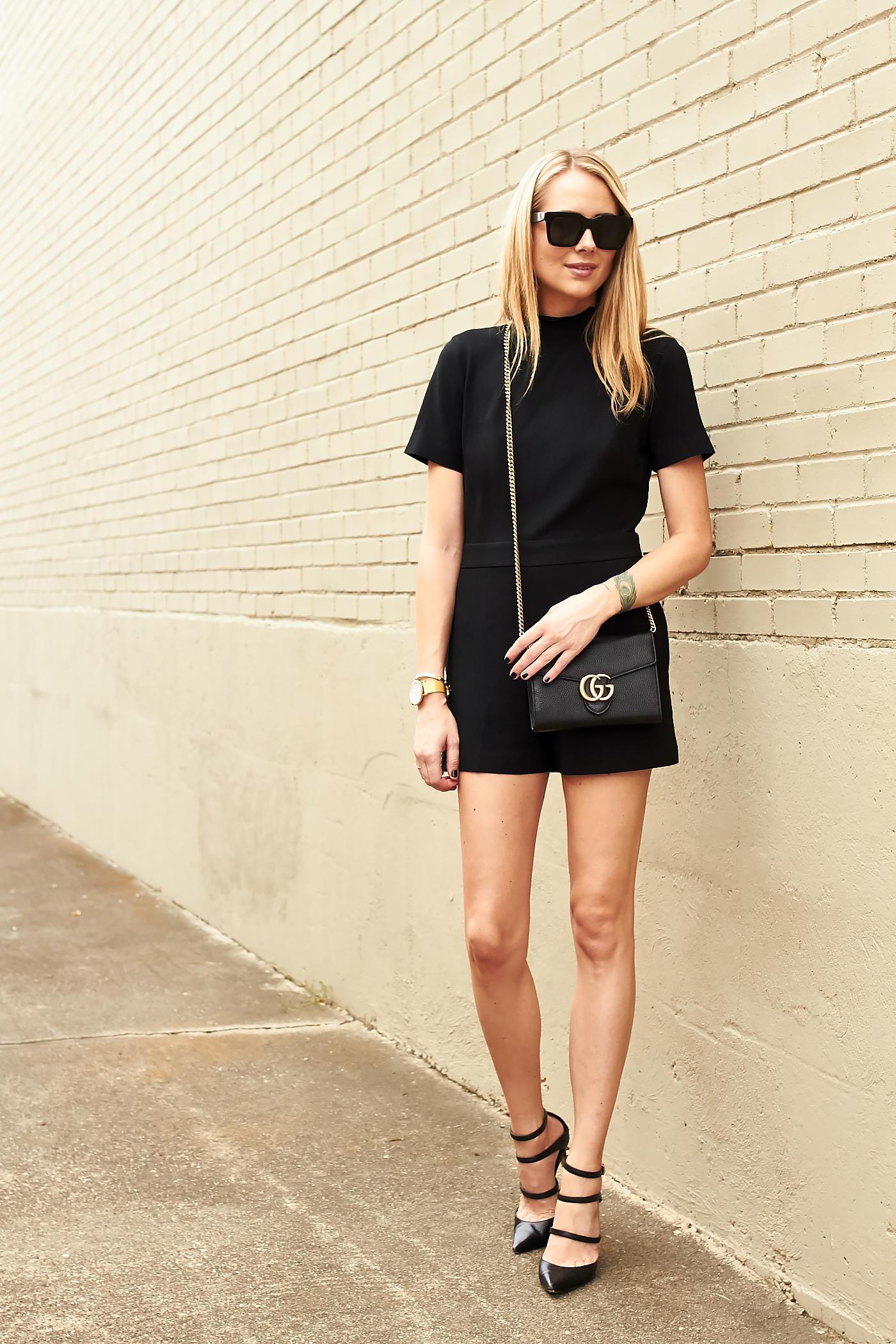fashion-jackson-club-monaco-black-philena-romper-black-strappy-pumps-gucci-black-marmont-handbag-black-celine-sunglasses