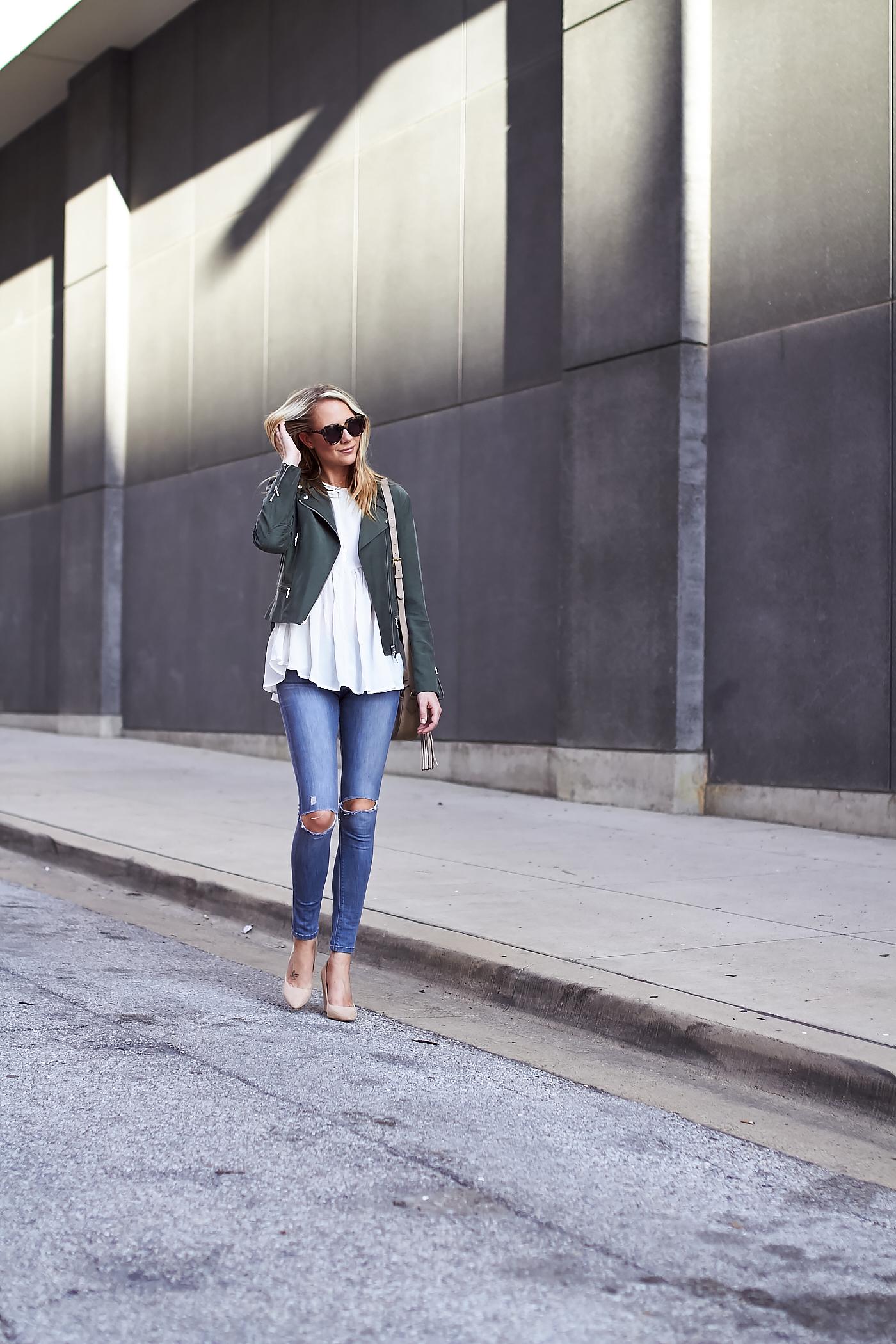fashion-jackson-club-monaco-olive-green-moto-jacket-denim-ripped-skinny-jeans-white-blouse