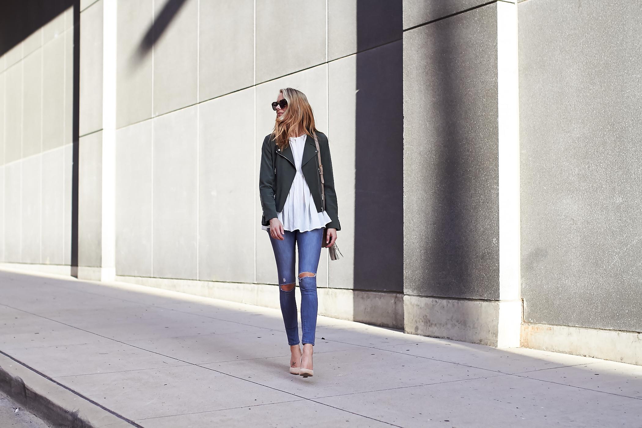 fashion-jackson-olive-green-moto-jacket-ripped-denim-jeans-white-blouse