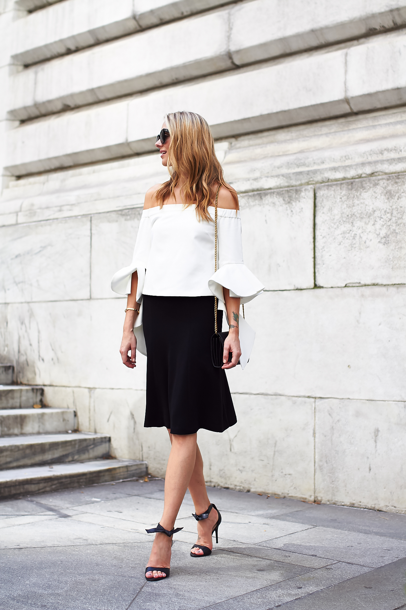 fashion-jackson-white-off-the-shoulder-top-black-midi-skirt-bow-heels