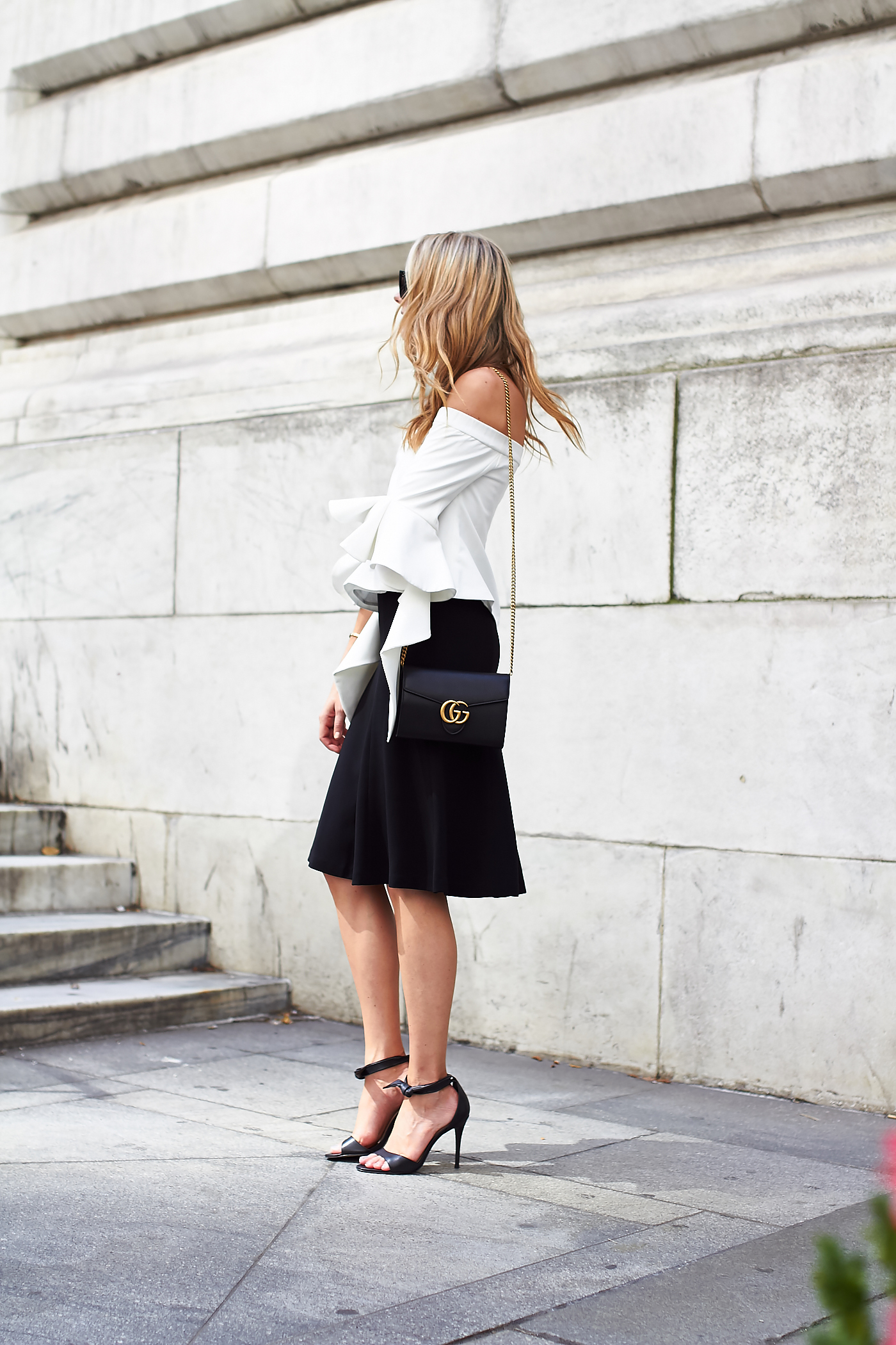 fashion-jackson-white-off-the-shoulder-top-black-midi-skirt-gucci-marmont-handbag