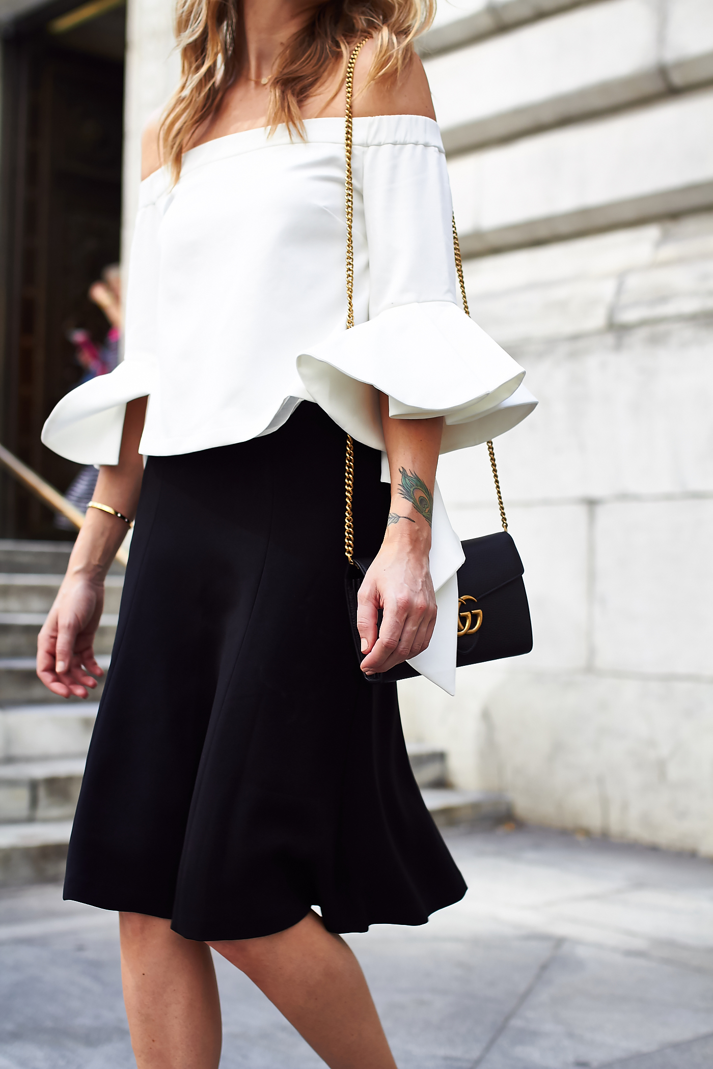 fashion-jackson-white-ruffle-off-the-shoulder-top-black-dalphine-club-monaco-skirt