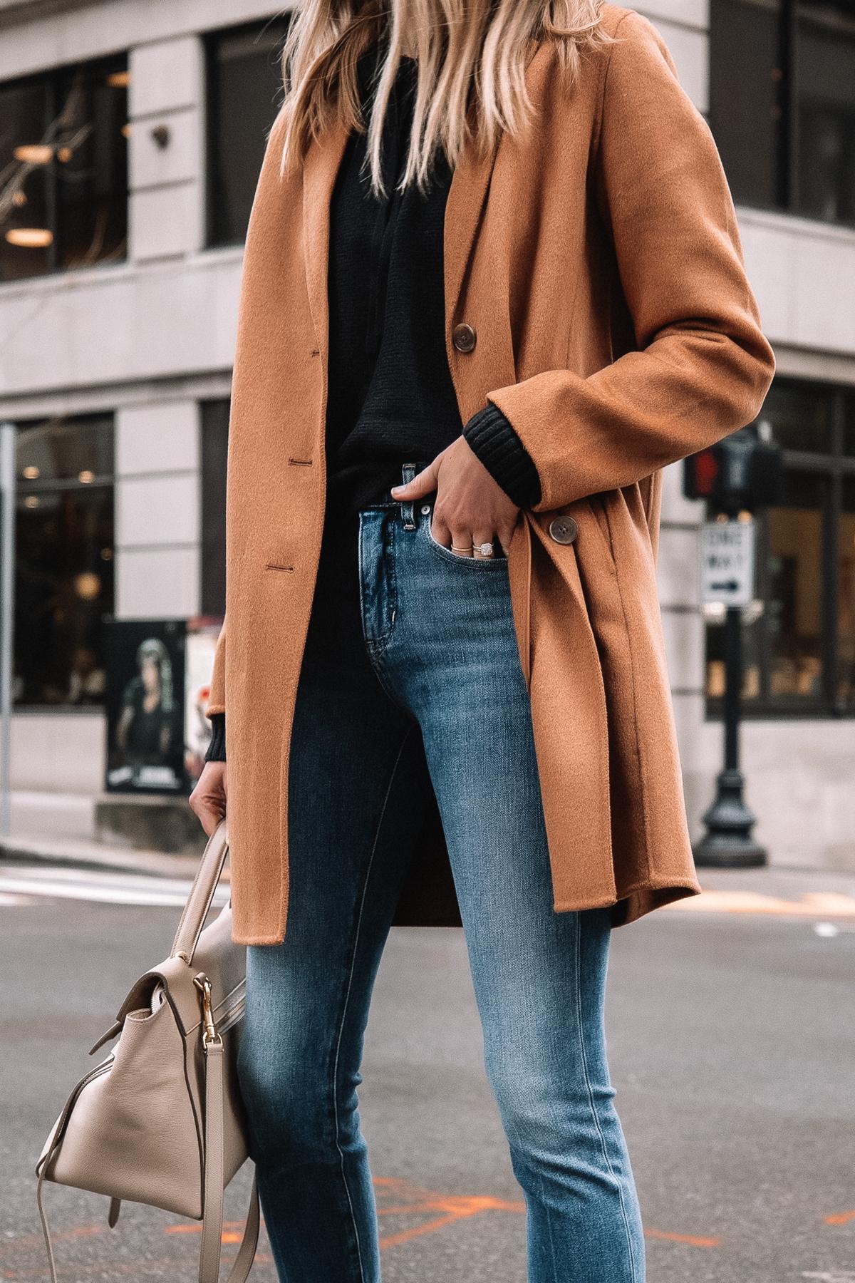 Fashion Jackson Wearing Banana Republic Camel Coat Black Sweater Denim Jeans