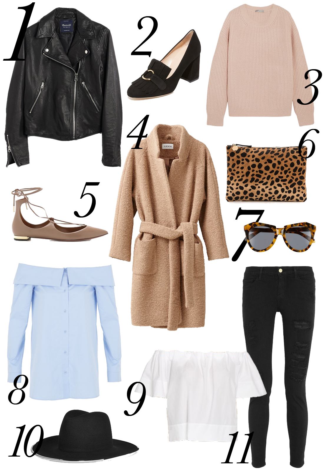 shopbop sale, madewell black leather jacket, clare v leopard clutch, vince pink sweater, ganni camel coat, aquazzura christy lace up flats, janessa leone anita hat, frame ripped denim, vince white off the shoulder top, karen walker number one sunglasses, tibi off the shoulder shirt blue