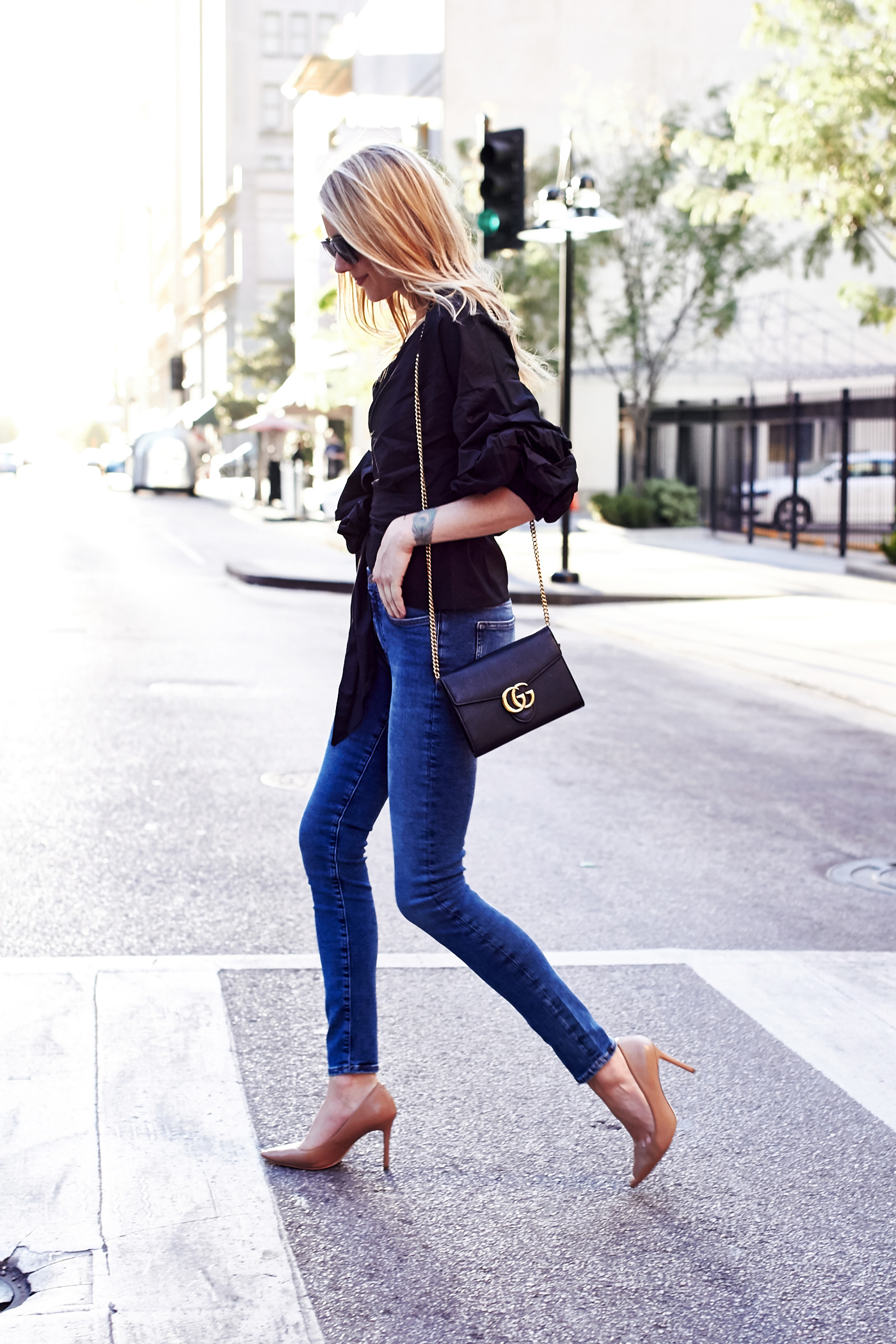 Chicwish Black Ruffle Sleeve Wrap Top, m.i.h denim skinny jeans, Sam Edelman nude pumps, Gucci Marmont handbag, Celine black sunglasses, fall outfit, date night outfit