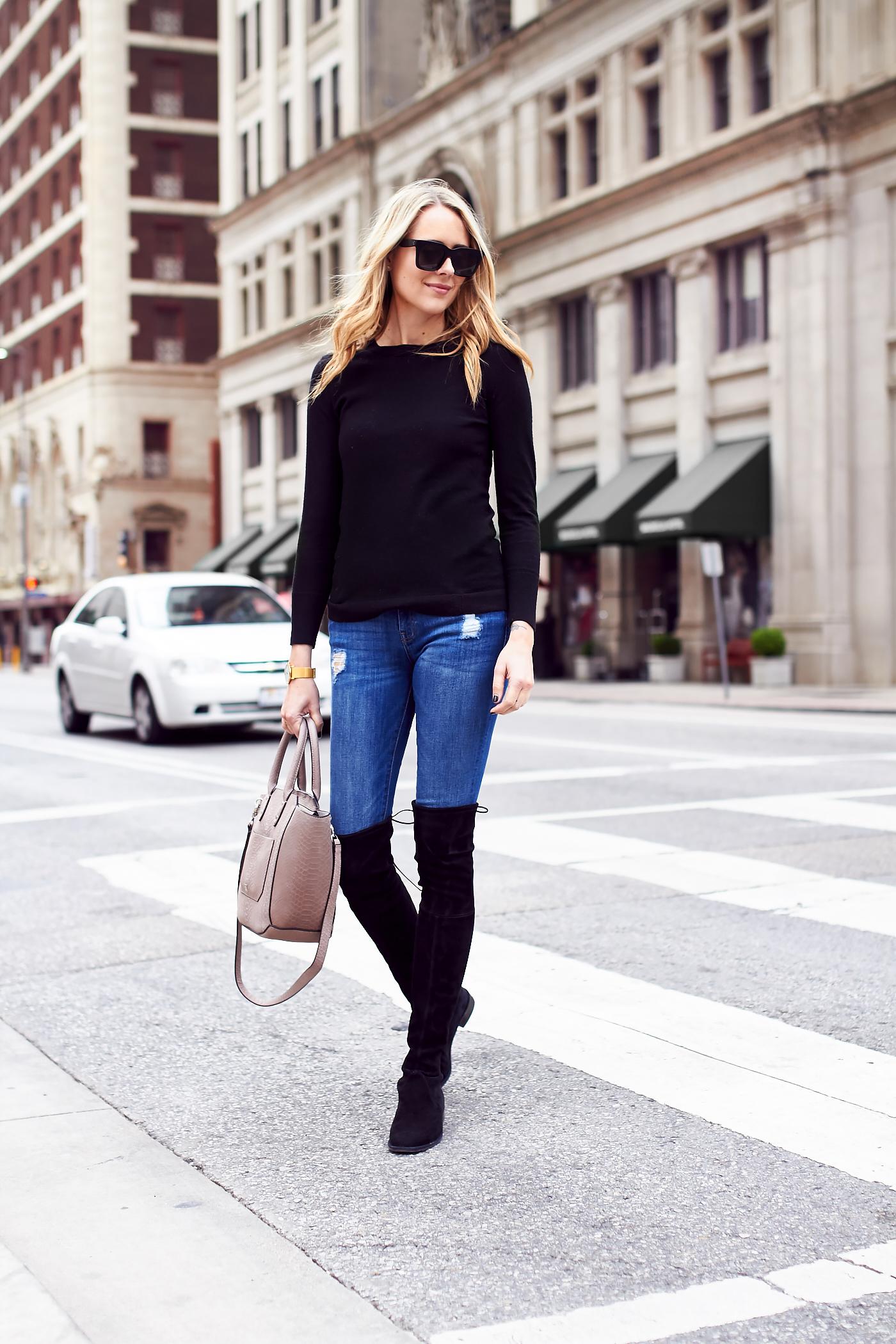 fashion-jackson-black-sweater-denim-skinny-jeans-black-over-the-knee-boots-ivanka-trump-tribeca-tote