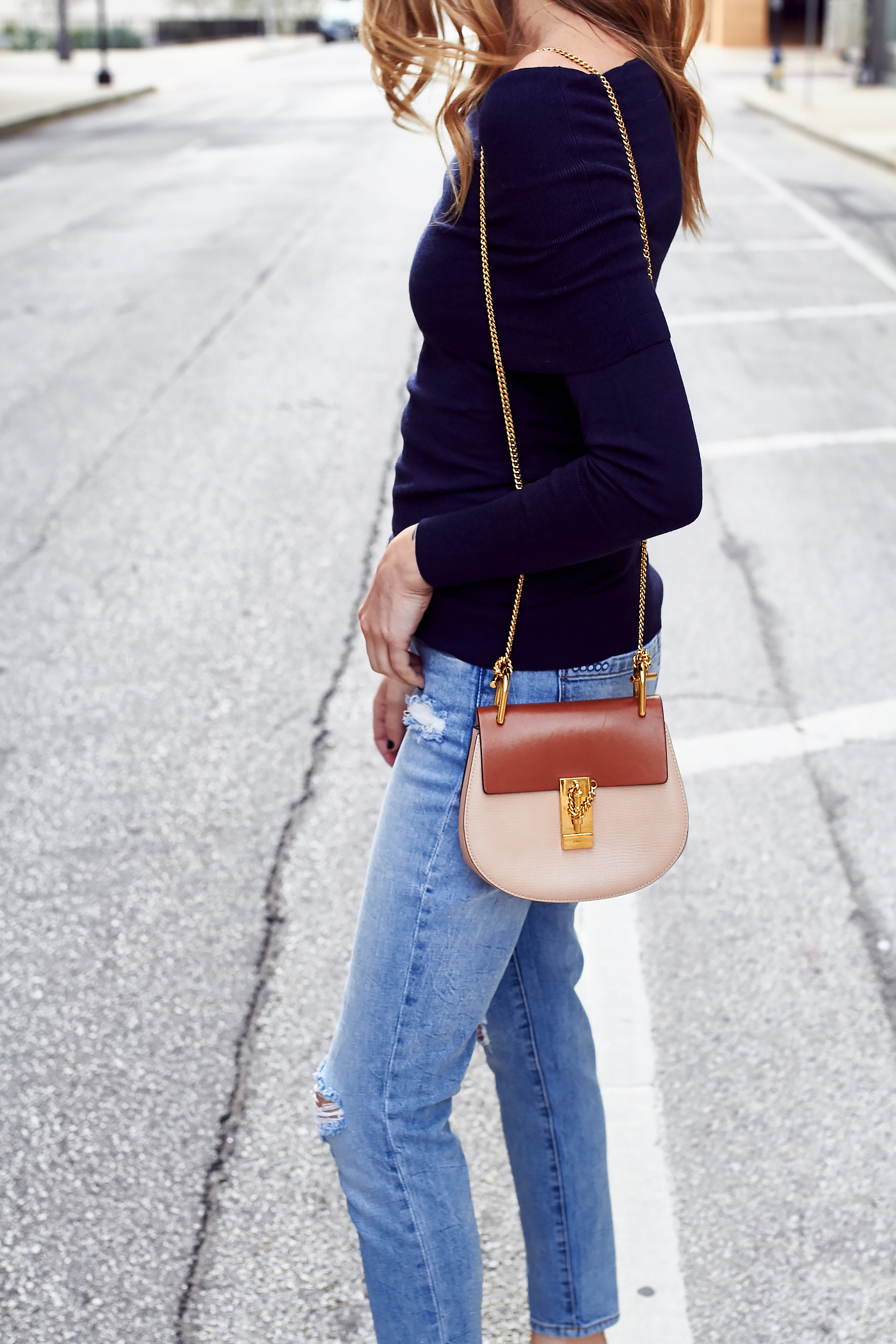 NAVY OFF-THE-SHOULDER SWEATER | Fashion Jackson