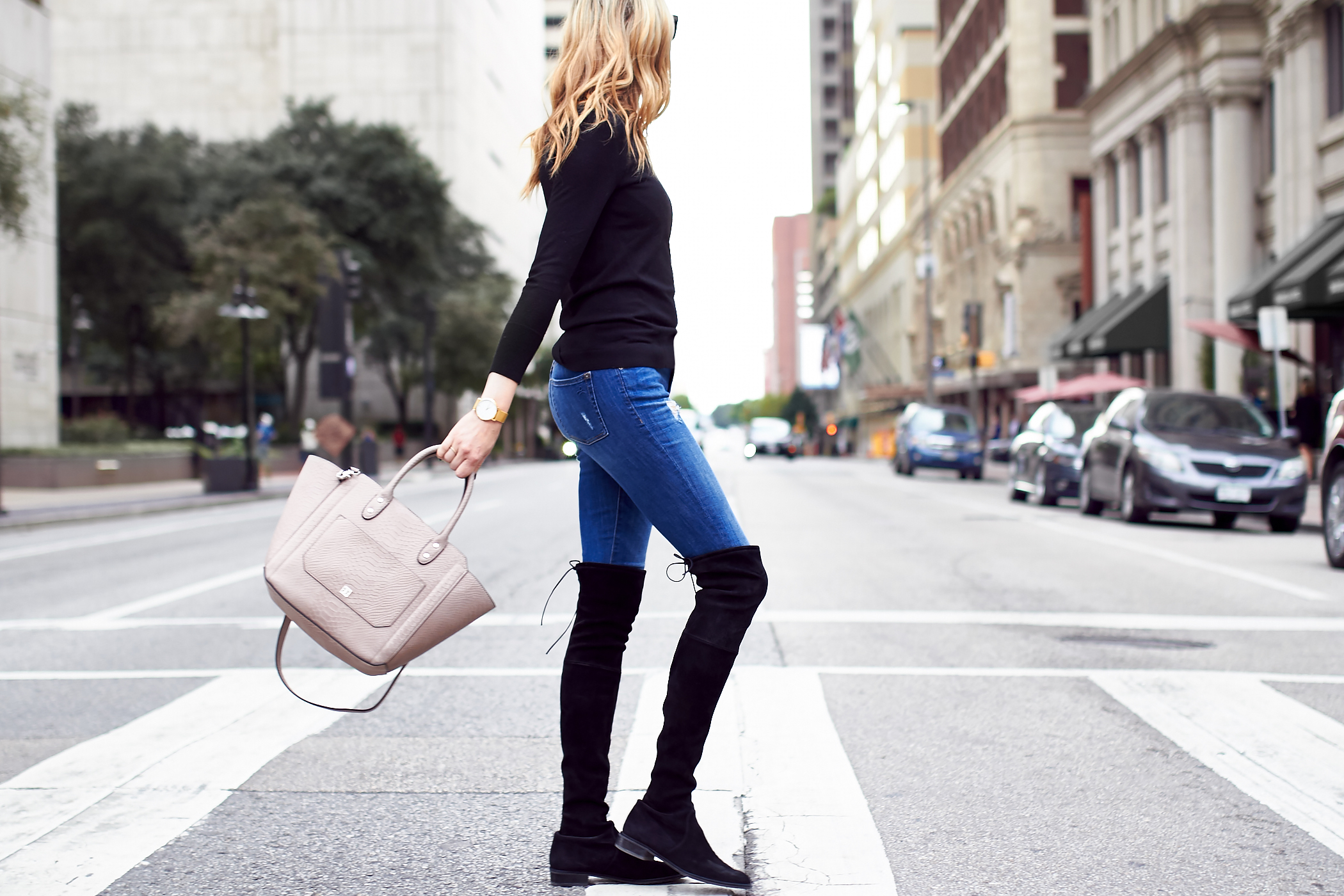 fashion-jackson-ivanka-trump-tribeca-leather-tote-pale-taupe-black-sweater-denim-skinny-jeans-black-over-the-knee-boots