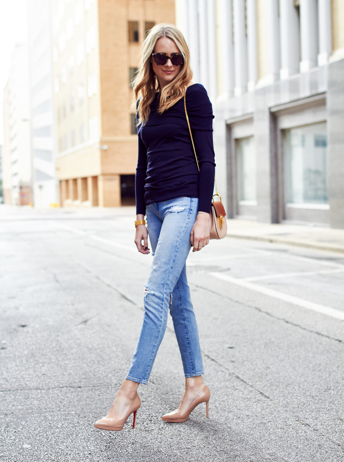 blanknyc denim jeans, christian louboutin pigalle nude pumps, autumn cashmere navy off the shoulder sweater, chloe drew handbag, fall outfit