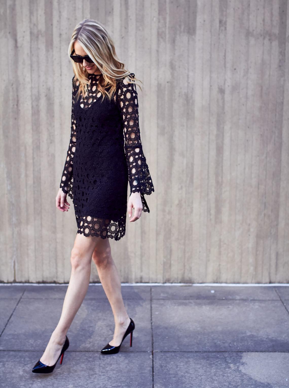N/Nicholas Lace Overlay Long Sleeve Black Mini Dress, Black Celine Sunglasses, Christian Louboutin Pigalle Plato Black Pumps