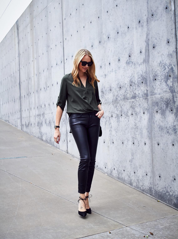 Fall Outfit, Olive Green Wrap Front Blouse, Faux Leather Black Skinny Pants, Gucci Marmont Handbag, Black Lace Up Block Heel Pumps, Black Celine Sunglasses