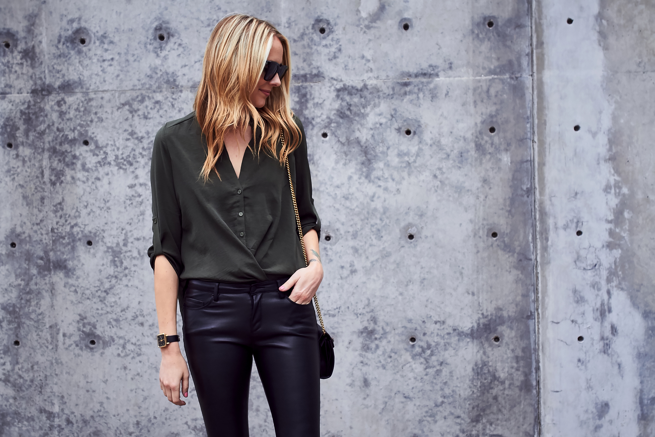 Fall Outfit, Olive Green Wrap Front Blouse, Faux Leather Black Skinny Pants, Gucci Marmont Handbag, Black Lace Up Block Heel Pumps, Black Celine Sunglasses