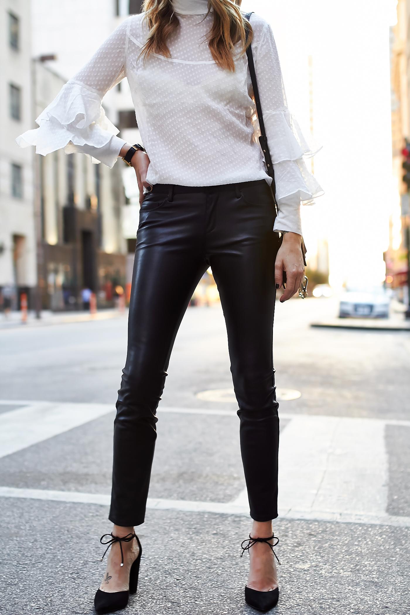 fashion-jackson-olivia-palermo-chelsea28-tiered-sleeve-blouse-black-faux-leather-skinny-pants-black-bow-pumps