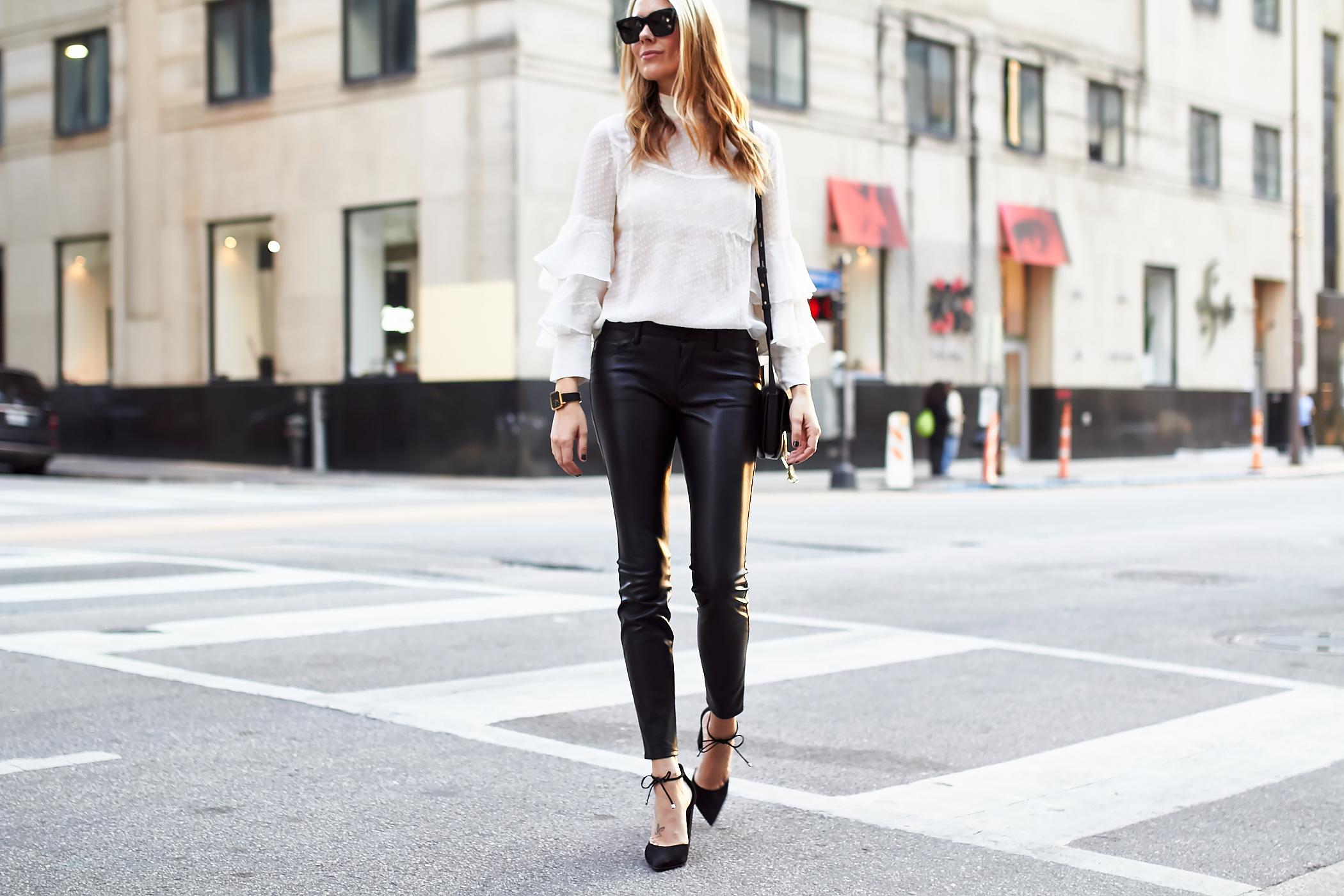 fashion-jackson-white-ruffle-sleeve-blouse-black-faux-leather-skinny-pants