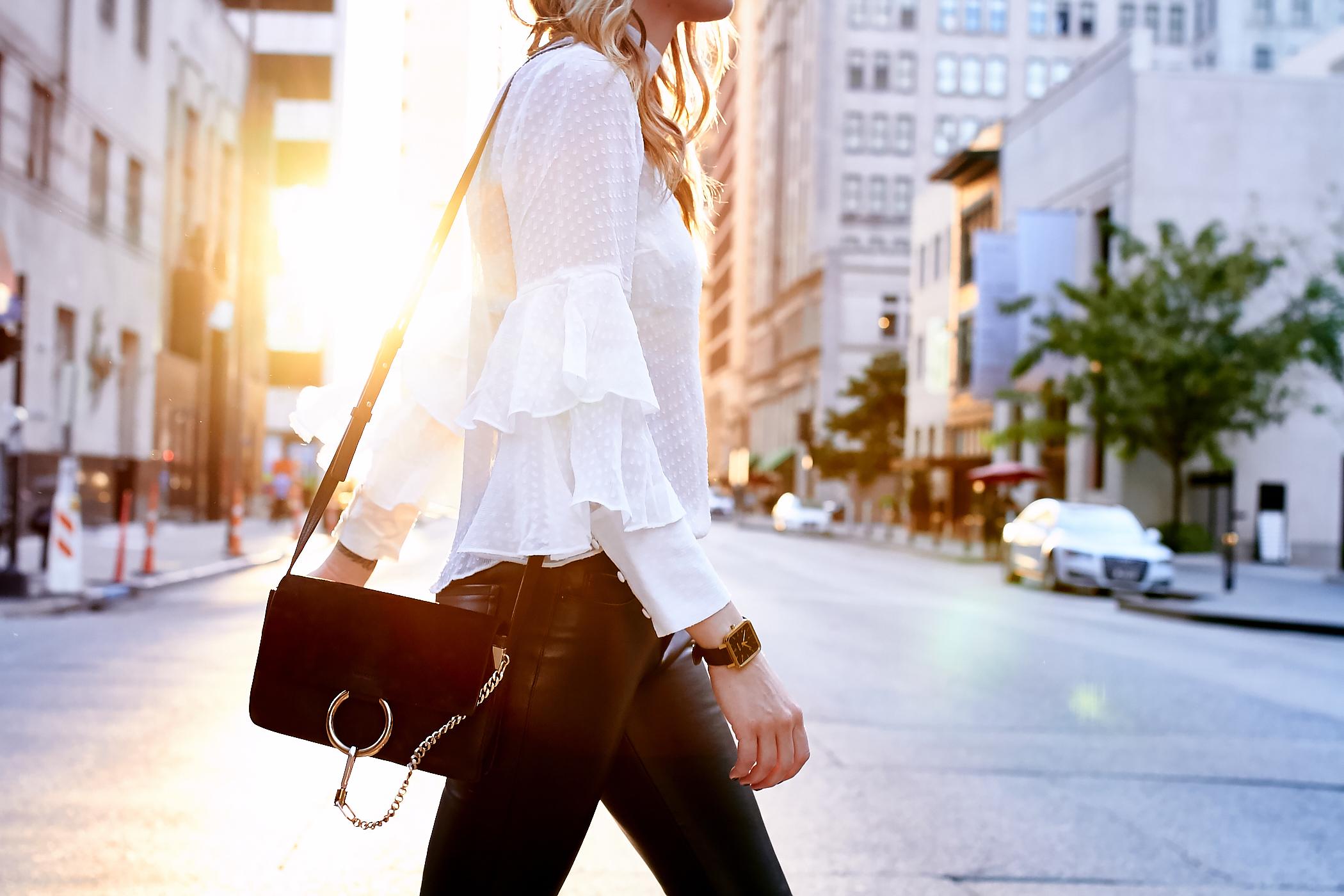 fashion-jackson-white-ruffle-sleeve-blouse-chloe-faye-handbag