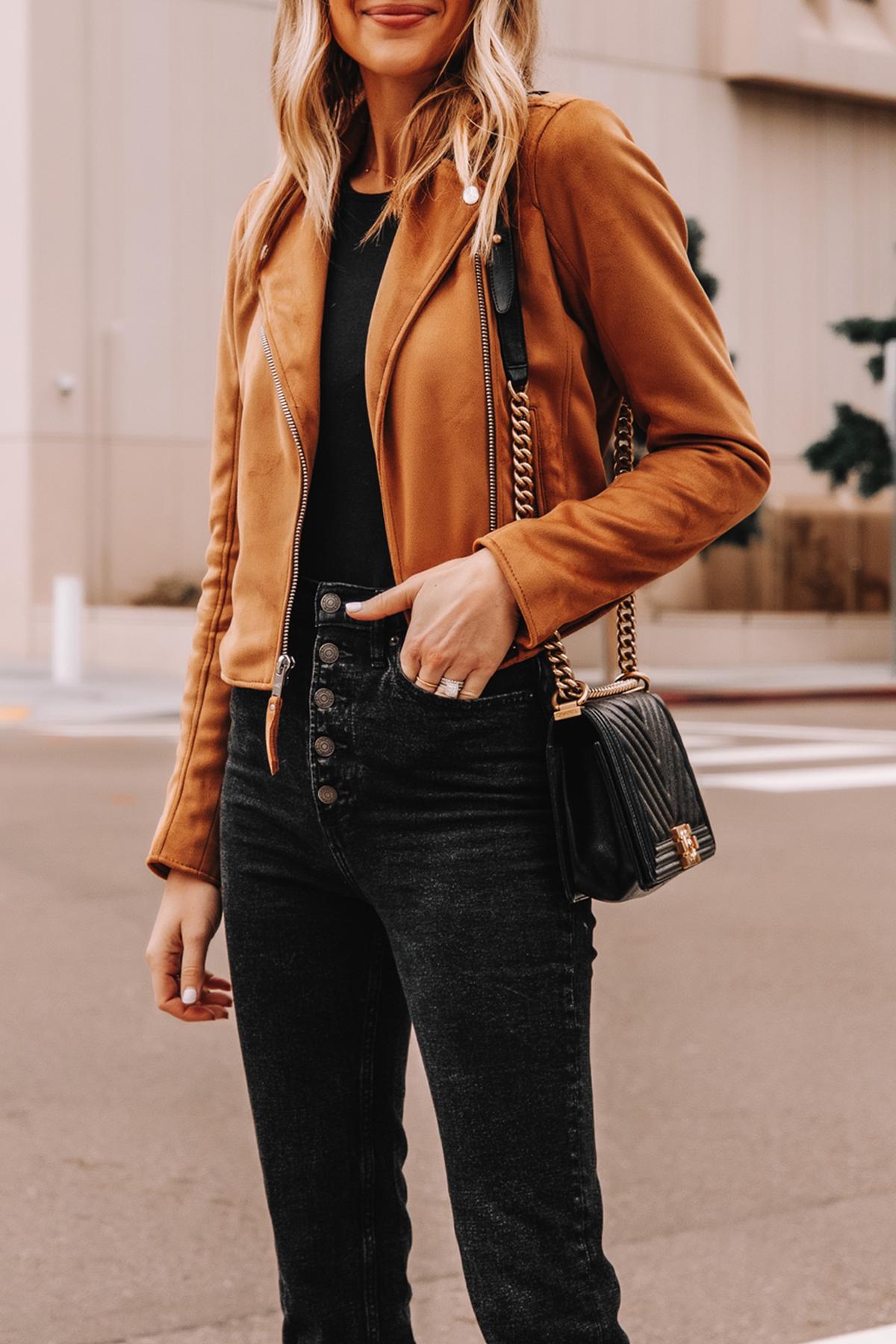 Fashion Jackson Wearing Abercrombie Tan Suede Moto Jacket Black Button Front Jeans 2