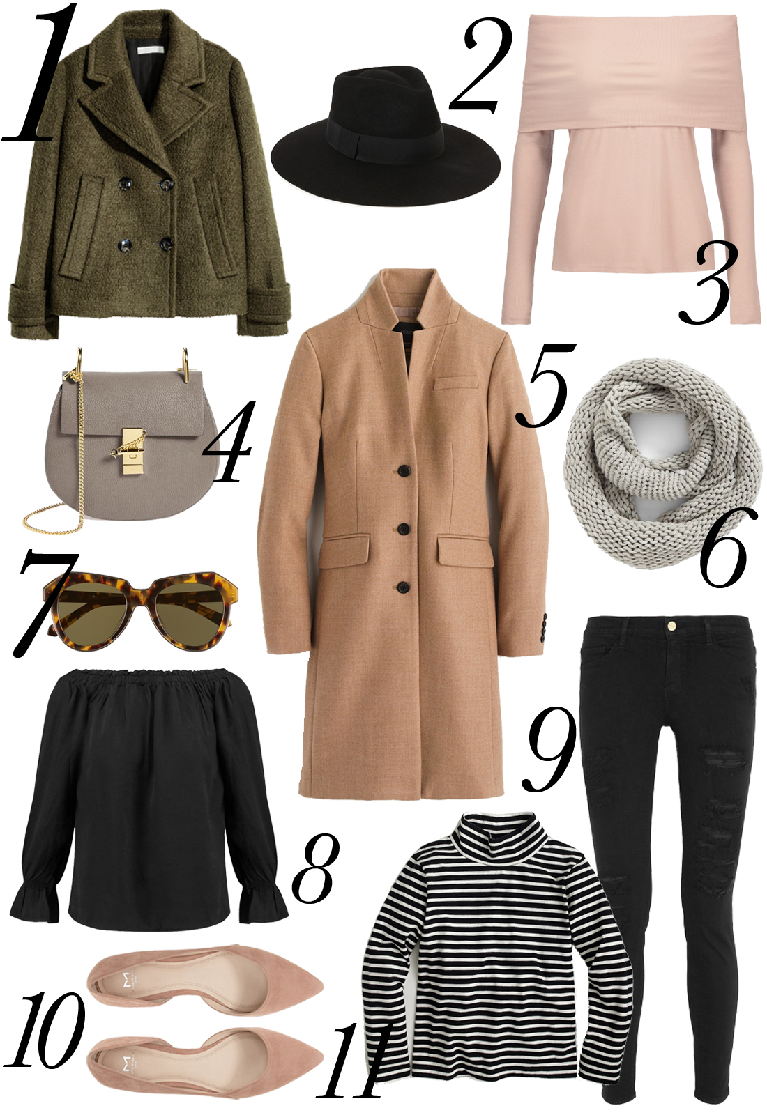 Fall Outfit, Long Camel Coat, Grey Infinity Scarf, Black Ripped Jeans, Striped Turtleneck, Pink Flats, Grey Chloe Drew Handbag, Black Wool Hat, Olive Pea Coat, Black Off-the-Shoulder Blouse, Pink Off-the-Shoulder Sweater