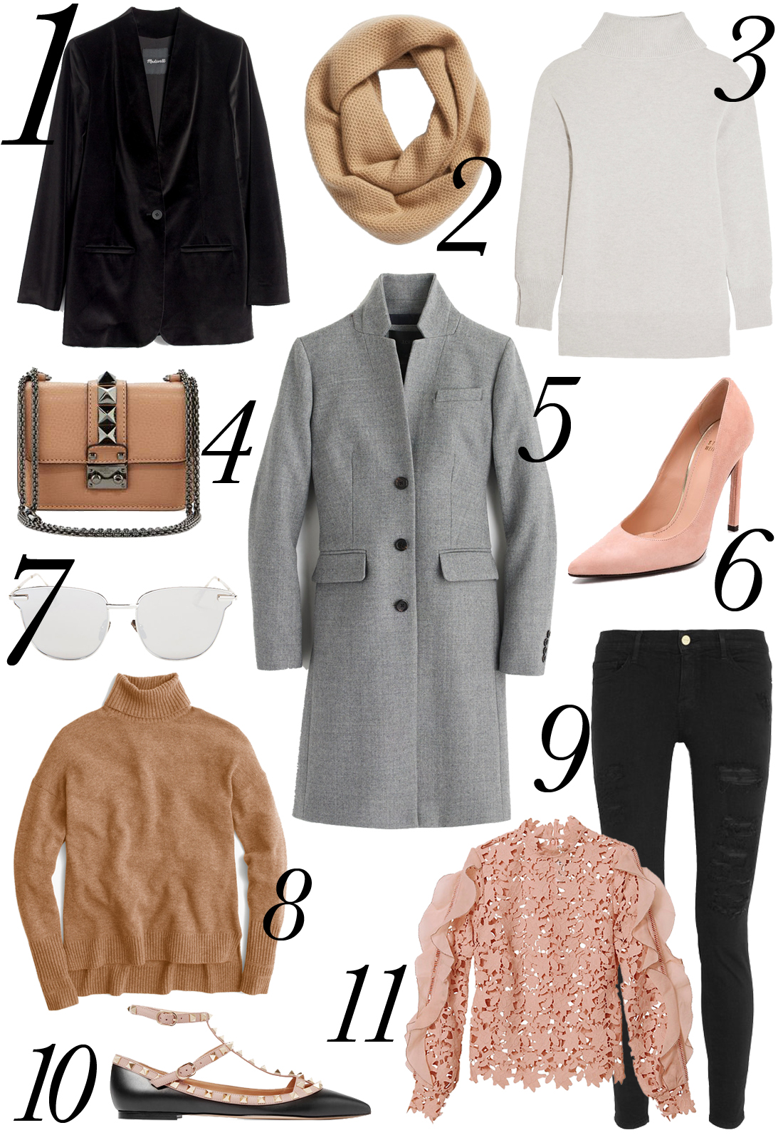 Fall Apparel, Black Velvet Blazer, Camel Infinity Scarf, Grey Turtleneck Sweater, Valentino Lock Clutch, Grey Topcoat, Blush Pumps, Camel Turtleneck Sweater, Self Portrait Pink Lace Top, Black Ripped Skinny Jeans, Valentino Rockstud Flats, Silver Mirror Sunglasses