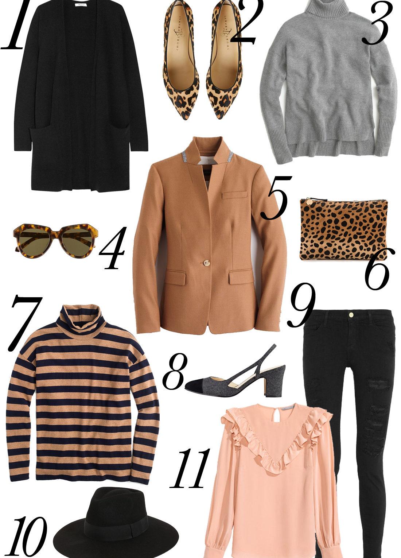 fall apparel, turtleneck, sweaters, black ripped skinny jeans, leopard clutch, leopard flats, stripes, wide brim hat