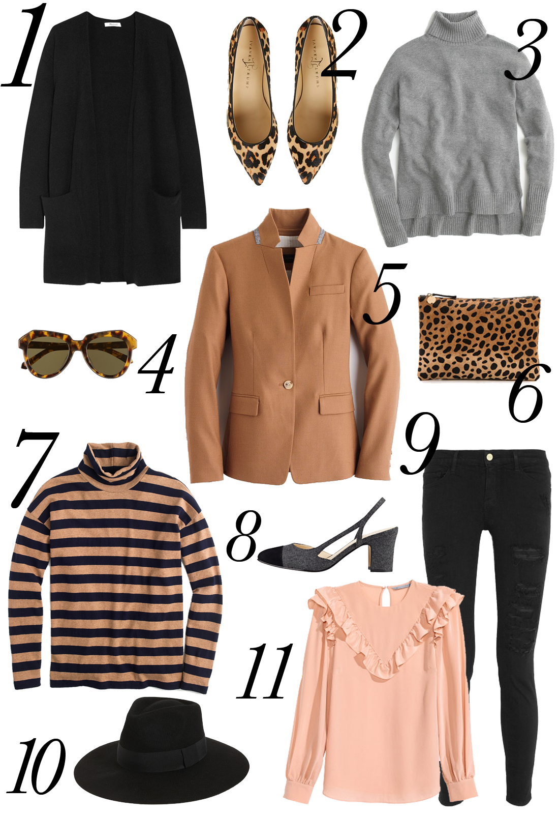 fall apparel, turtleneck, sweaters, black ripped skinny jeans, leopard clutch, leopard flats, stripes, wide brim hat