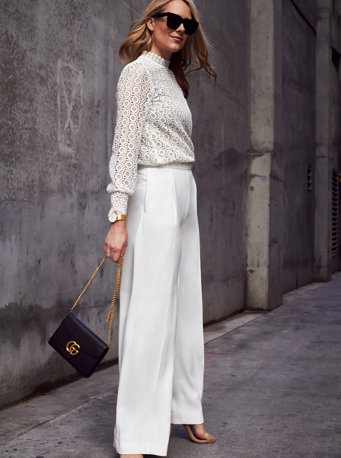 Fall/Winter Outfit, Head-to-toe-white, H&M Long Sleeve White Lace Blouse, White Wide Leg Pants, Gucci Marmont Handbag, Black Celine Sunglasses