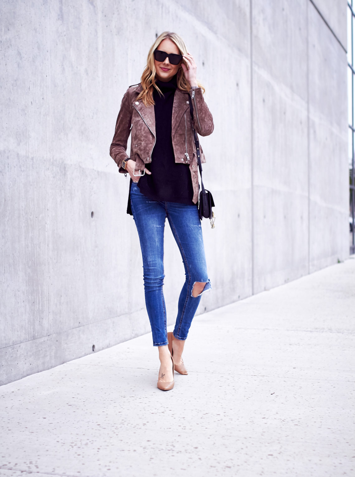fashion-jackson-blakc-sunglasses-blanknyc-morning-suede-moto-jacket-black-sweater-ripped-denim-jeans-nude-pumps