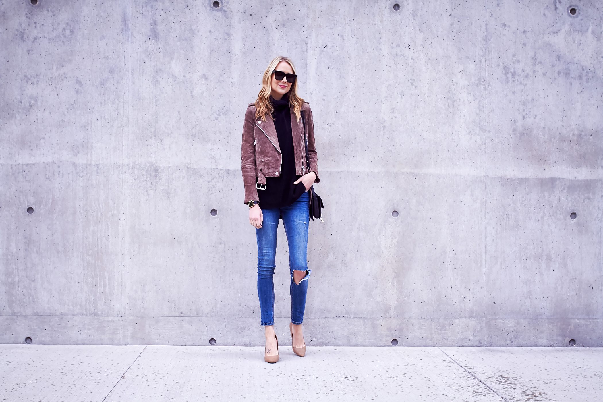fashion-jackson-blanknyc-morning-suede-moto-jacket-black-sweater-ripped-denim-jeans-nude-pumps-chloe-faye-handbag