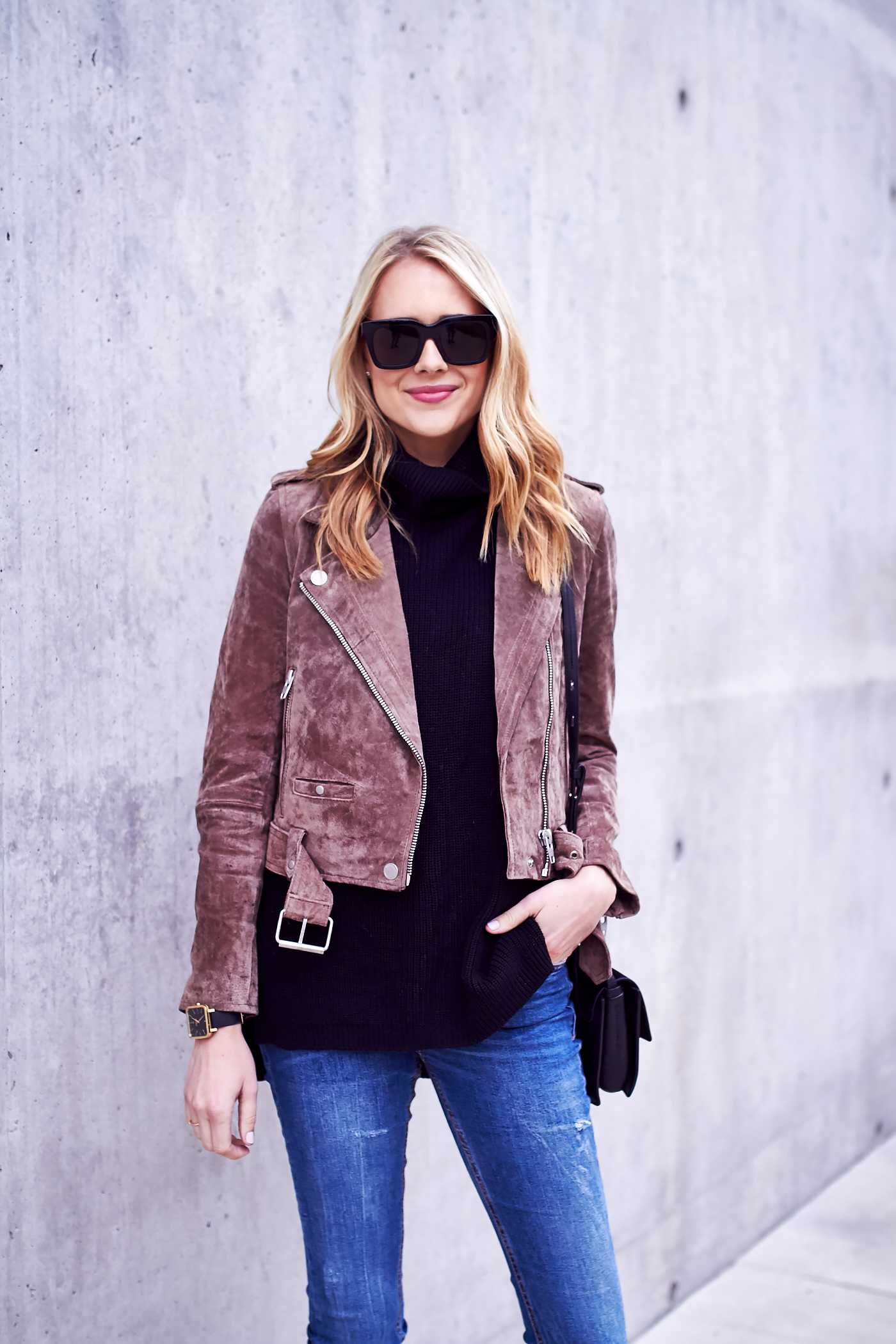 fashion-jackson-blanknyc-morning-suede-moto-jacket-black-turtleneck-sweater-denim-jeans-black-sunglasses