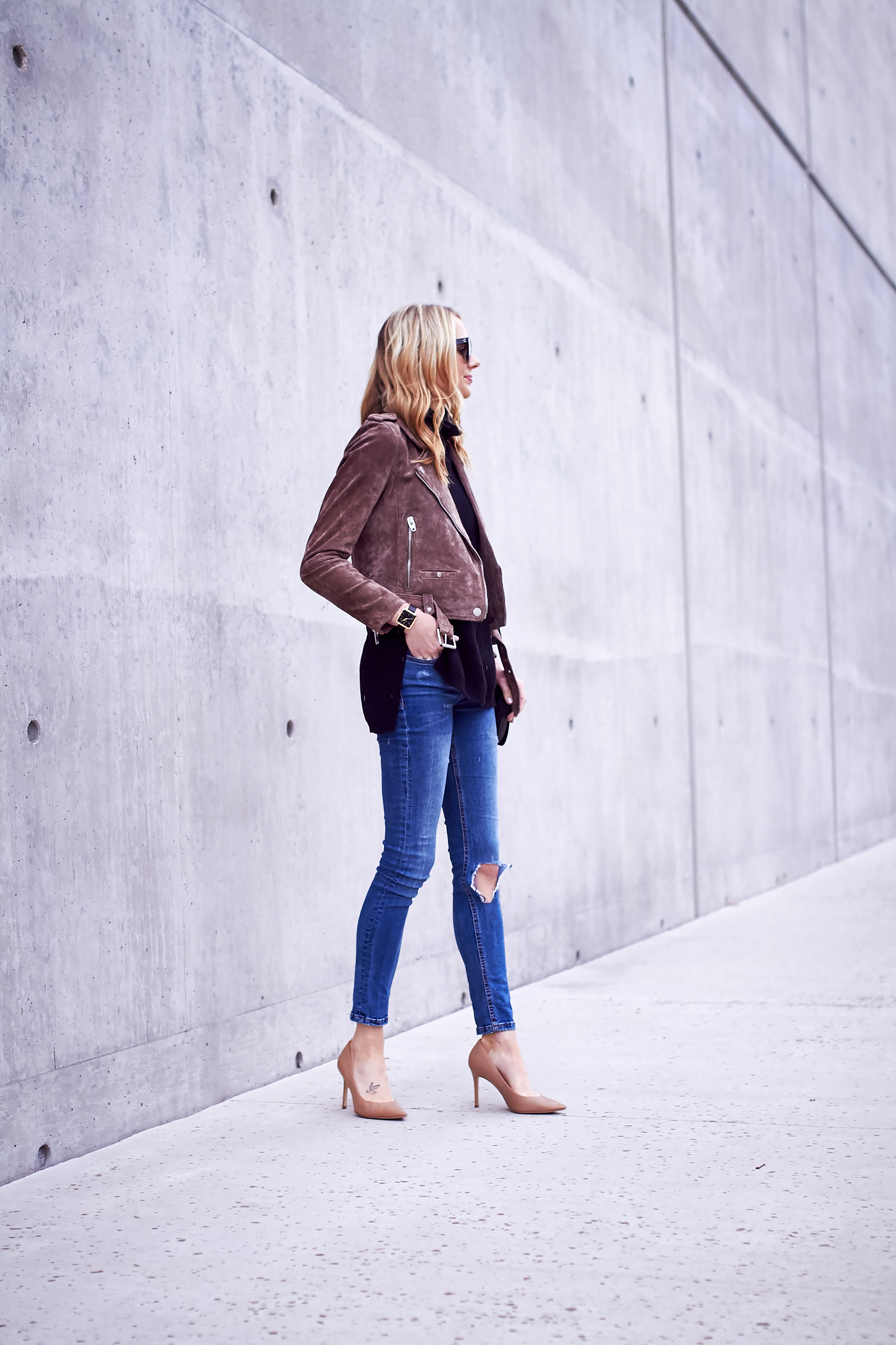 fashion-jackson-blanknyc-morning-suede-moto-jacket-ripped-denim-jeans-nude-pumps