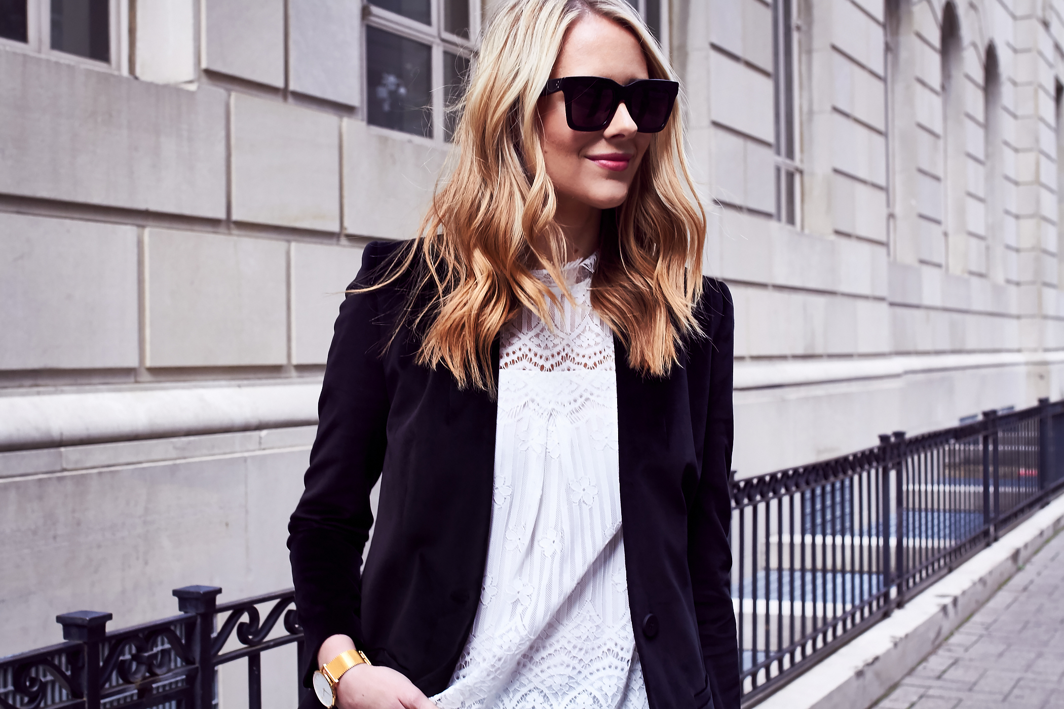 Fall Outfit, Holiday Outfit, White Lace Top, Black Velvet Blazer, Black Celine Sunglasses