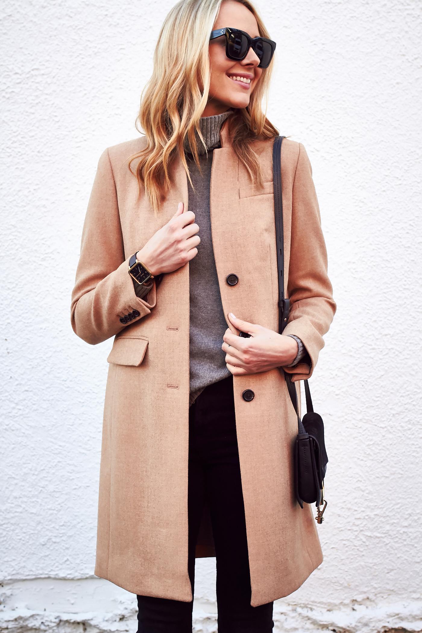 Fall Outfit, J.Crew Regent Topcoat Camel, Grey Turtleneck Sweater, Black Skinny Jeans, Chloe Faye Handbag