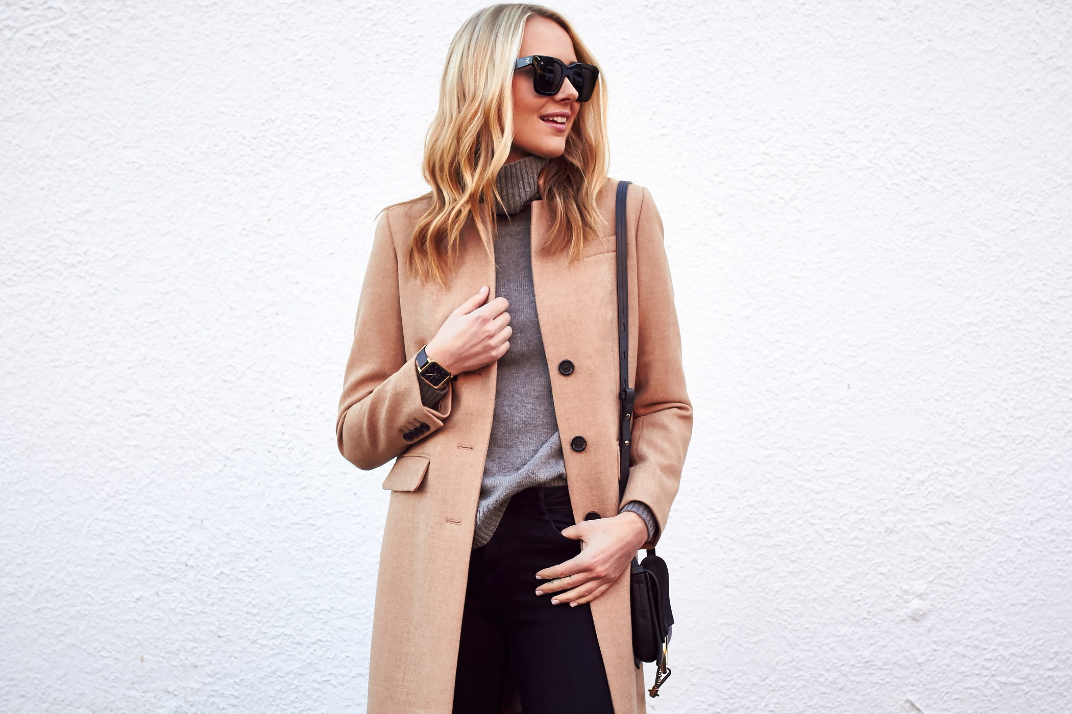 Fall Outfit, J.Crew Regent Topcoat Camel, Grey Turtleneck Sweater, Black Skinny Jeans