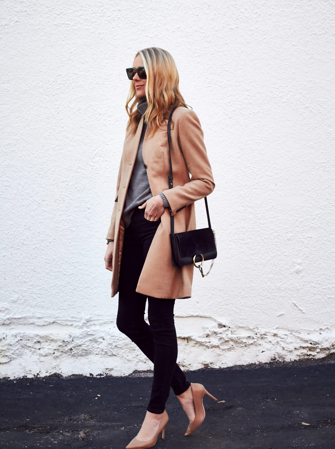 Fall Outfit, J.Crew Regent Topcoat Camel, Grey Turtleneck Sweater, Black Skinny Jeans, Nude Pumps, Chloe Faye Handbag