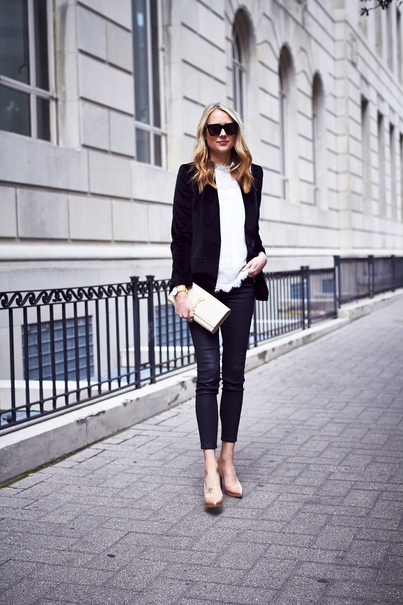 Fall Outfit, Holiday Outfit, White Lace Top, Black Velvet Blazer, Saint Laurent Clutch, Black Skinny Jeans, Nude Pumps