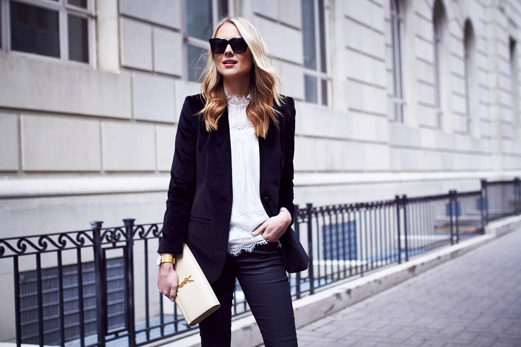 Fall Outfit, Holiday Outfit, White Lace Top, Black Velvet Blazer, Saint Laurent Clutch, Black Skinny Jeans