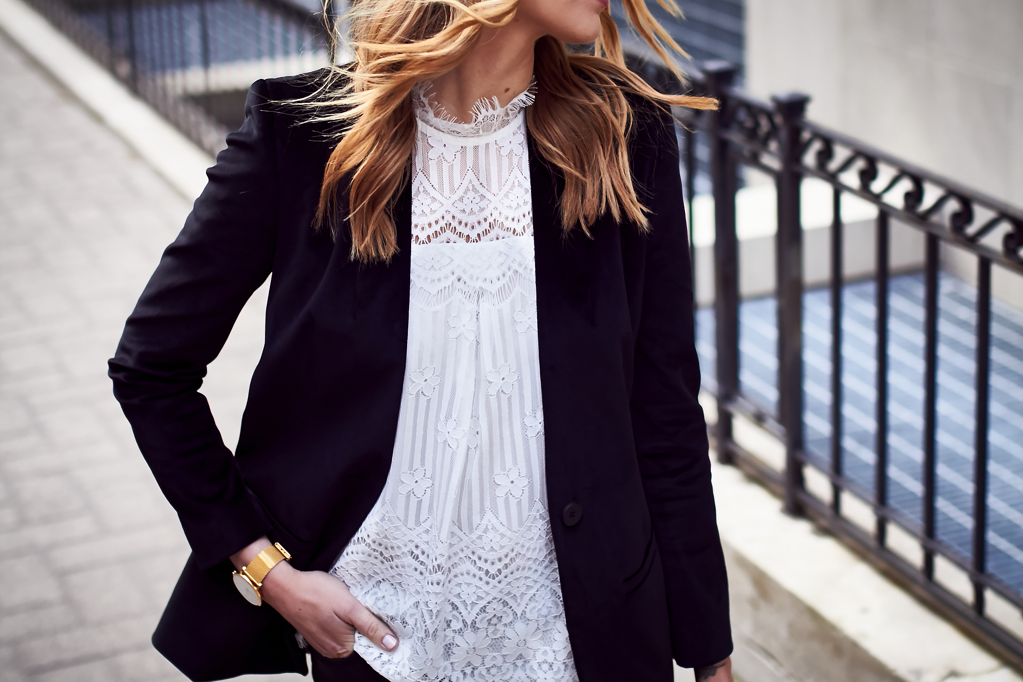 Fall Outfit, Holiday Outfit, White Lace Top, Black Velvet Blazer