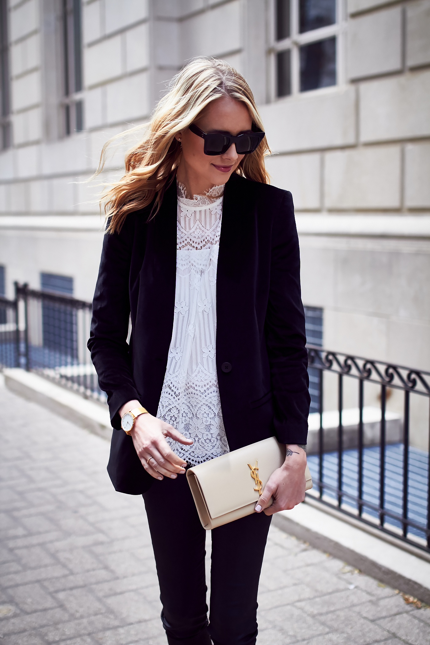 Fall Outfit, Holiday Outfit, White Lace Top, Black Velvet Blazer, Saint Laurent Clutch, Black Celine Sunglasses