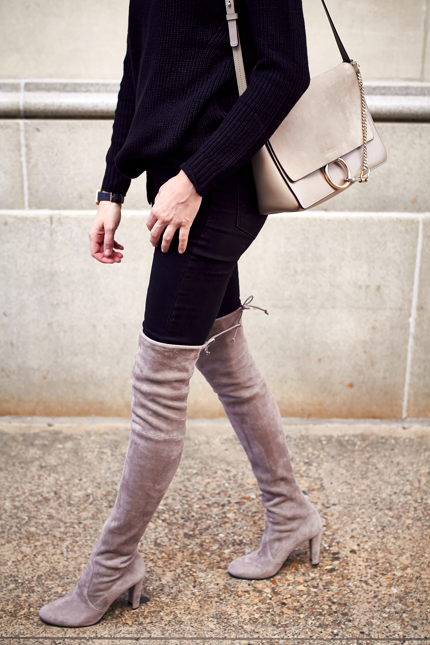 Stuart Weitzman Highland Over the Knee Boots, Black Sweater, Black Skinny Jeans, Chloe Faye Medium Handbag, Black Celine Sunglasses, Fall Outfit