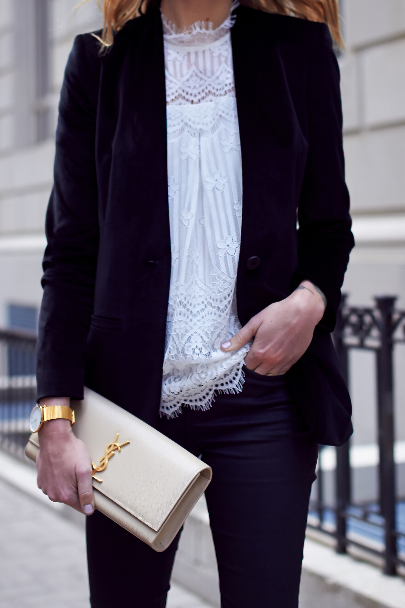 Fall Outfit, Holiday Outfit, White Lace Top, Black Velvet Blazer, Saint Laurent Clutch