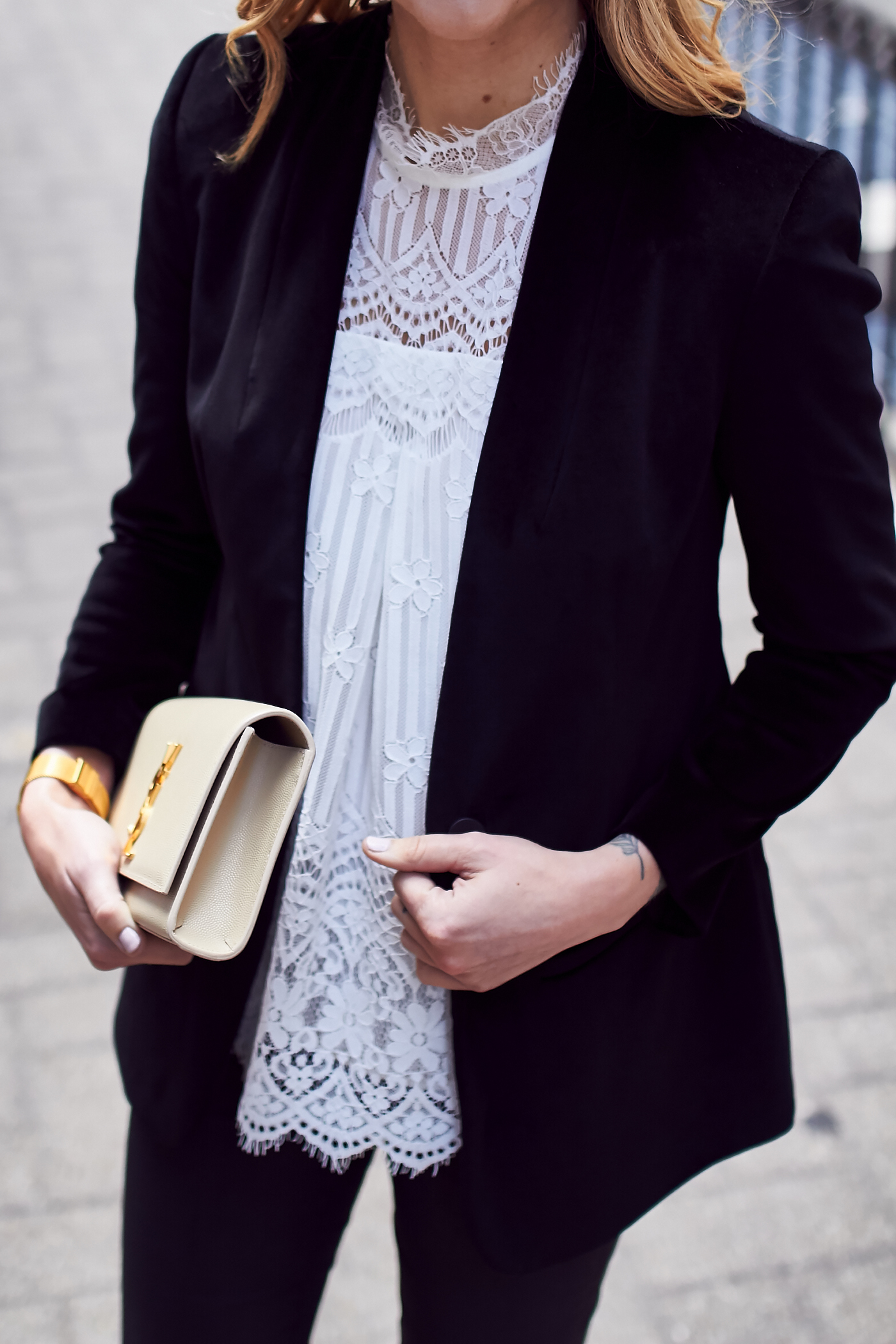 Fall Outfit, Holiday Outfit, Black Velvet Blazer, White Lace Top