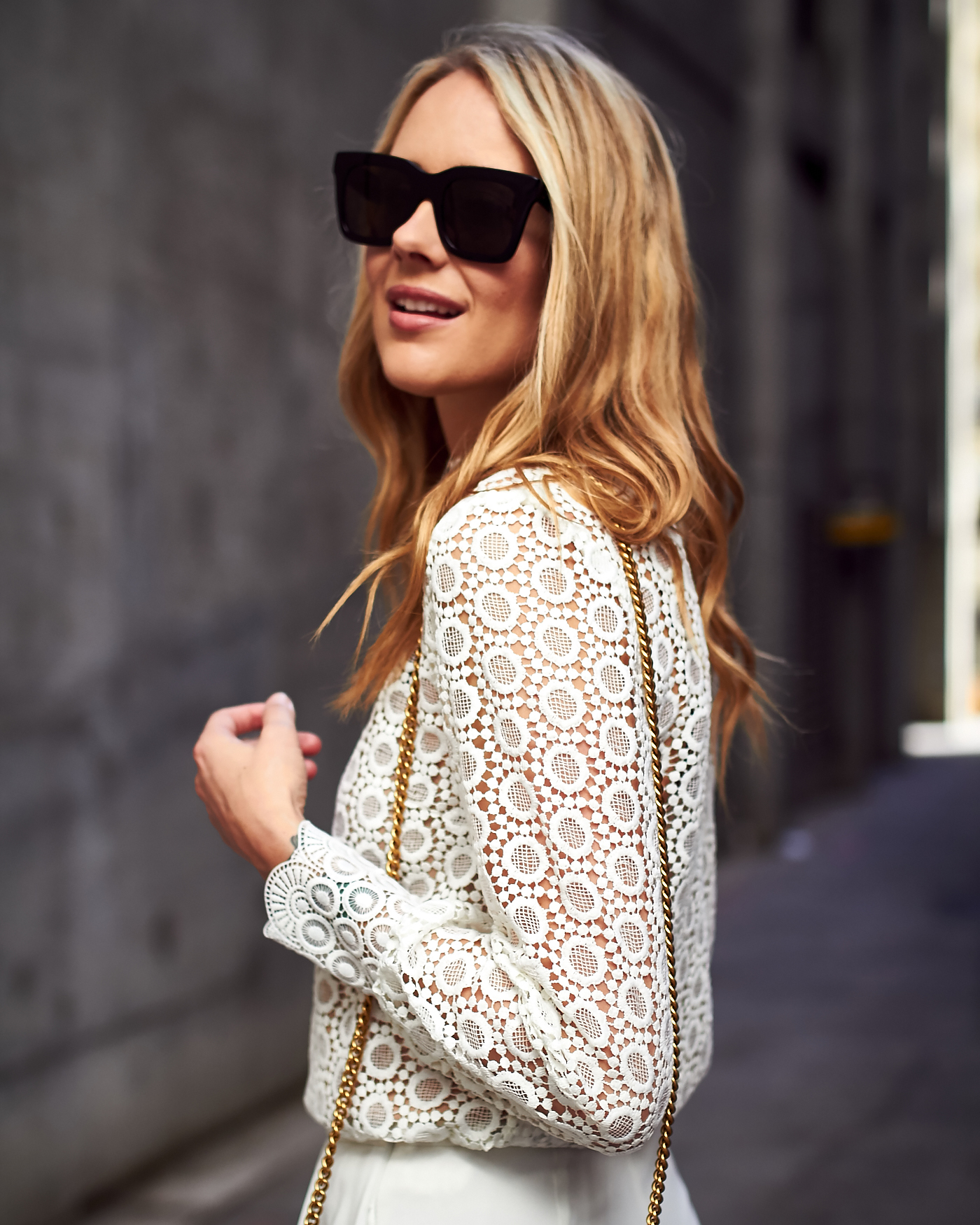 Fall/Winter Outfit, Head-to-toe-white, H&M Long Sleeve White Lace Blouse, White Wide Leg Pants, Gucci Marmont Handbag, Black Celine Sunglasses