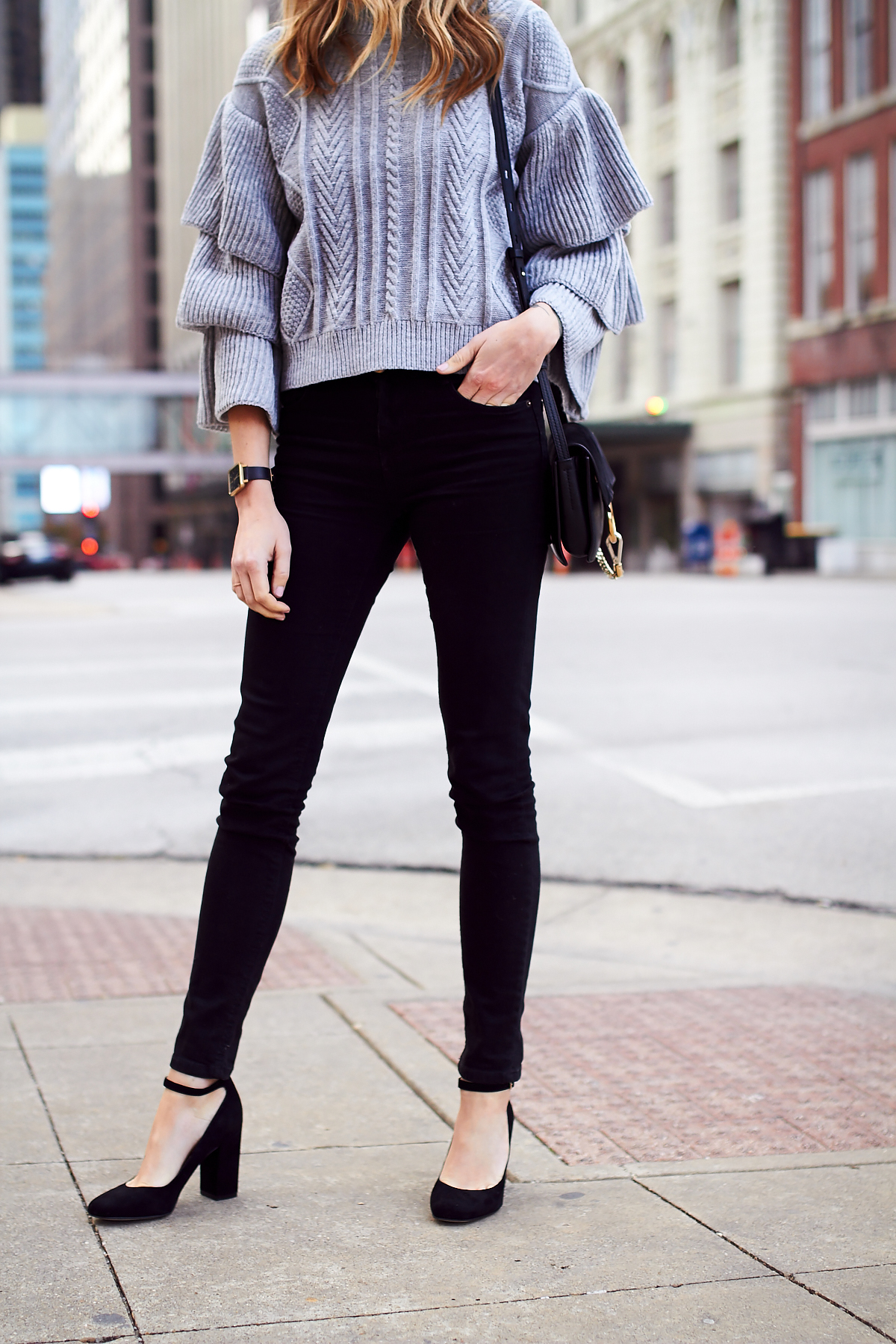 Fall Outfit, Winter Outfit, Grey Ruffle Sleeve Sweater, Black Skinny Jeans, Black Ankle Strap Block Heel Pumps, Chloe Faye Handbag