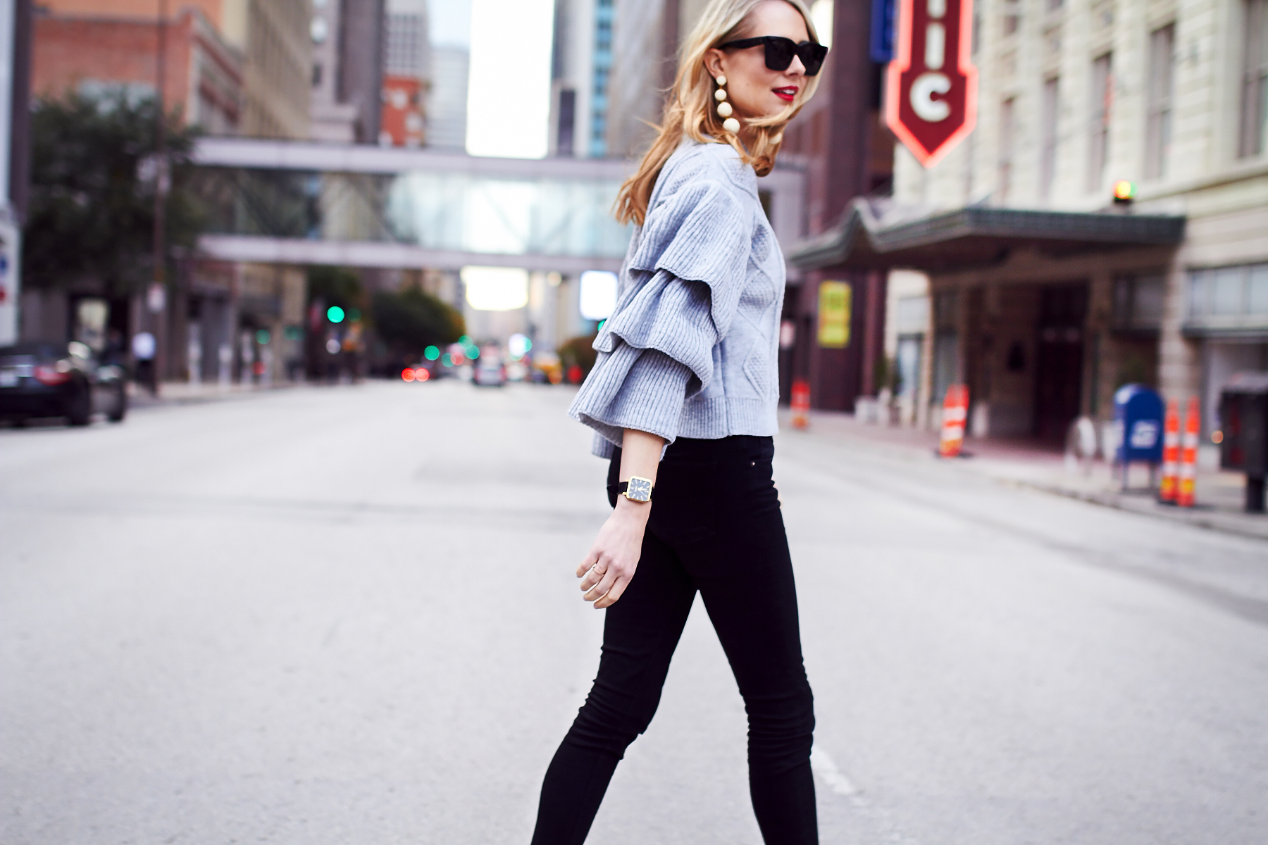 Fall Outfit, Winter Outfit, Grey Ruffle Sleeve Sweater, Black Skinny Jeans, BonBon Earrings, Black Celine Sunglasses, Red Lipstick