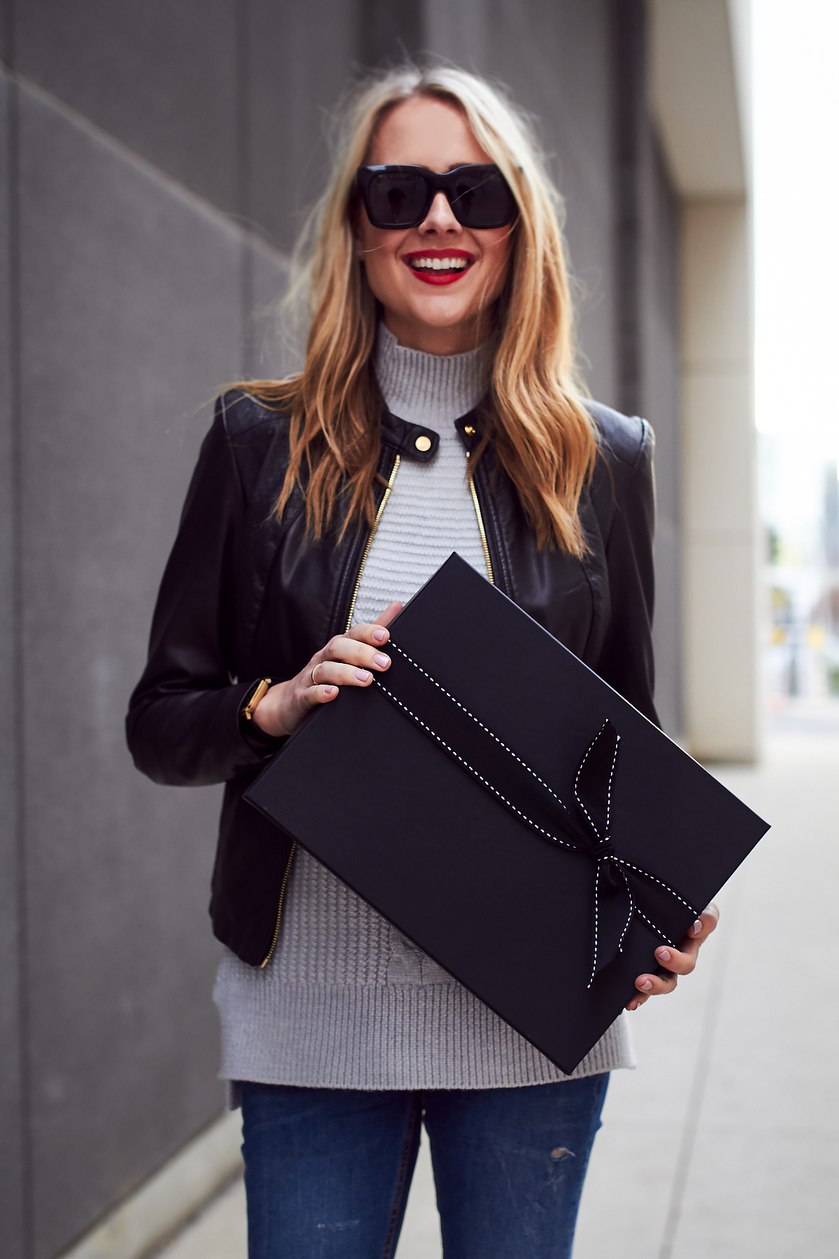 Fall Outfit, Black Leather Jacket, Grey Sweater, Holiday, Gift Guide