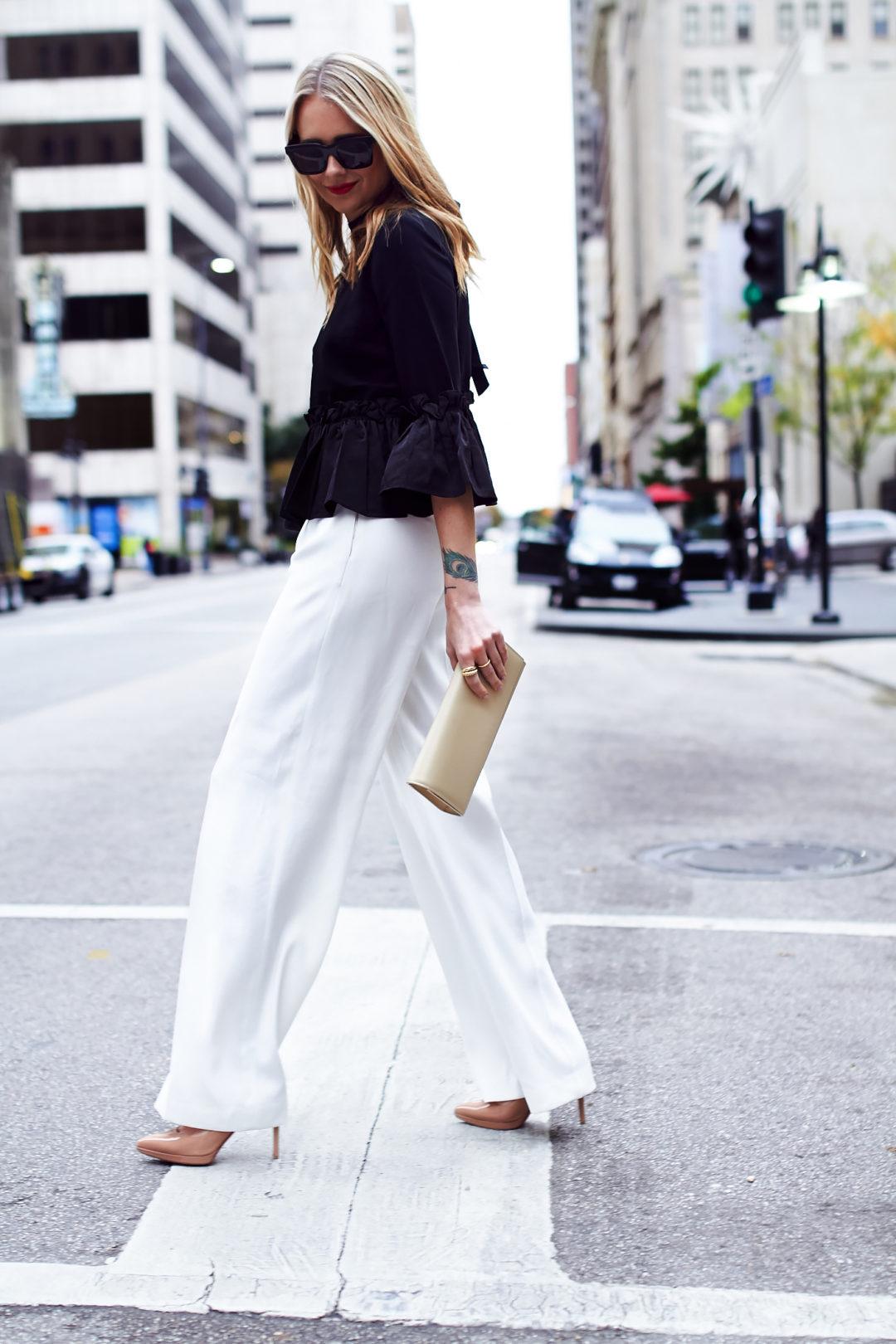 fashion-jackson-black-ruffle-top-white-wide-leg-pants