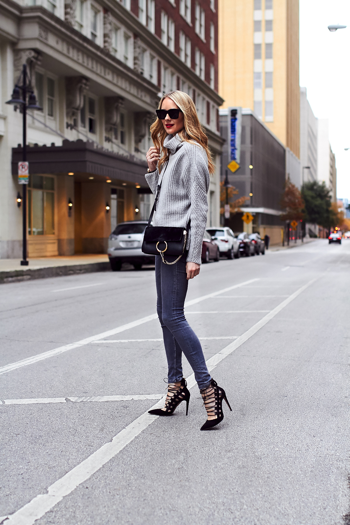 Fall Outfit, Winter Outfit, Chunky Grey Turtleneck Sweater, Grey Skinny Jeans, Aquazzura Amazon Black Pumps, Chloe Faye Black Handbag