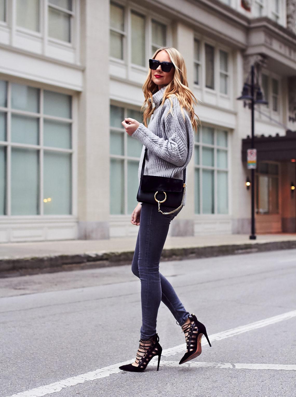 Fall Outfit, Winter Outfit, Chunky Grey Turtleneck Sweater, Grey Skinny Jeans, Aquazzura Amazon Black Pumps, Chloe Faye Black Handbag