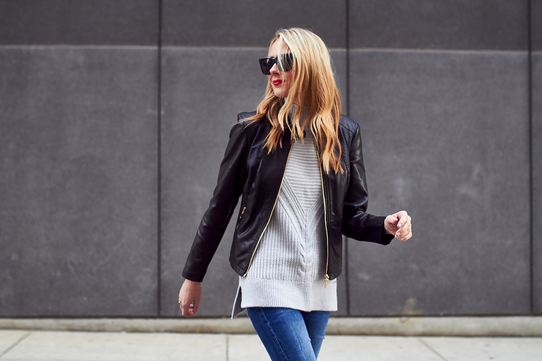 Fall Outfit, Black Leather Jacket, Grey Sweater
