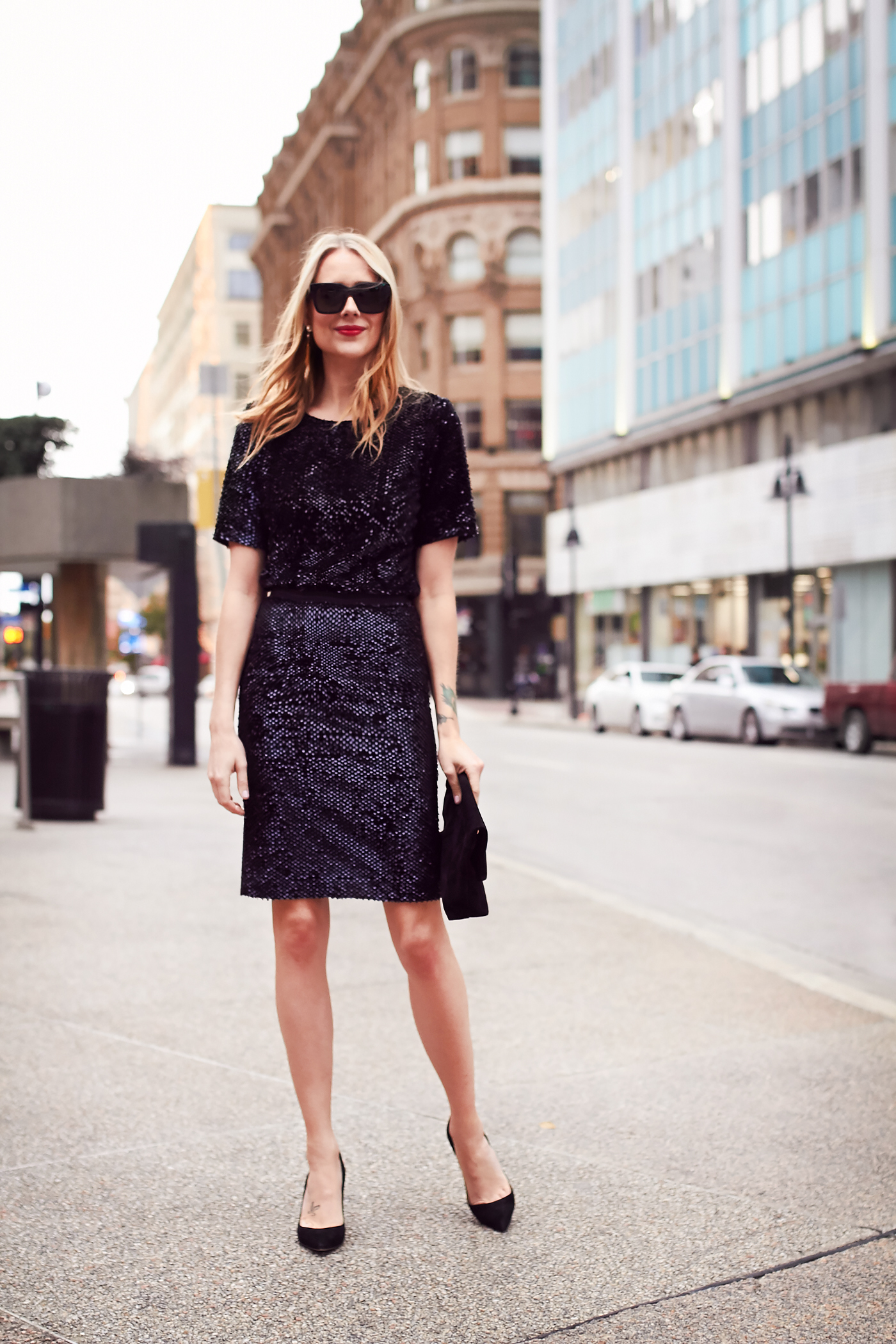 516ae3f167 Holiday Outfit, Party Dressing, Sequin Top, Sequin Pencil Skirt, Black  Pumps,