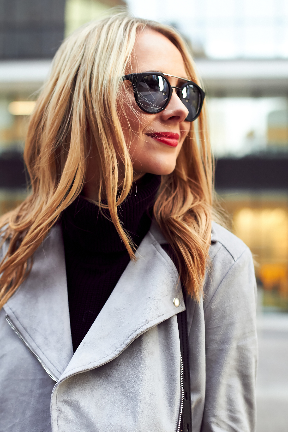 Fall Outfit, Grey Suede Moto Jacket, Black Turtleneck Sweater